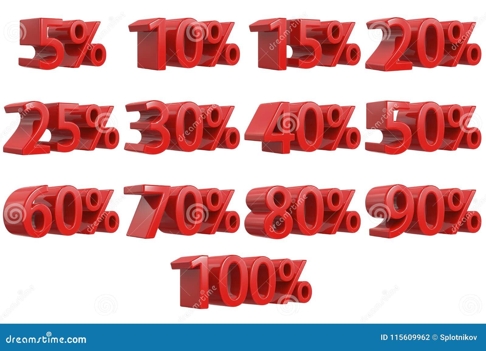 571d500e8 El descuento numera 3d Sistema rojo del icono del porcentaje de la venta