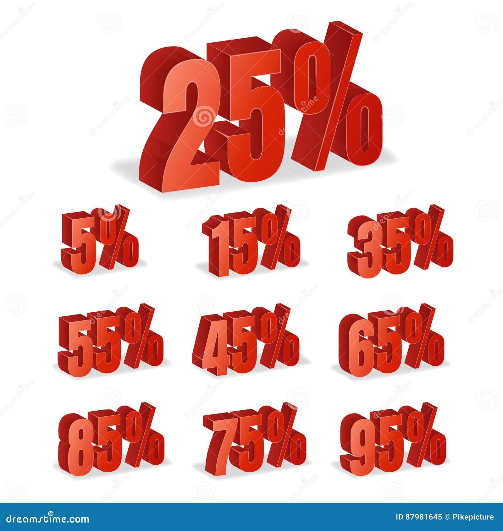 46c99228c El descuento numera el vector 3d Sistema rojo del icono del porcentaje de  la venta en el estilo 3D aislado en el fondo blanco el 10 por ciento  apagado