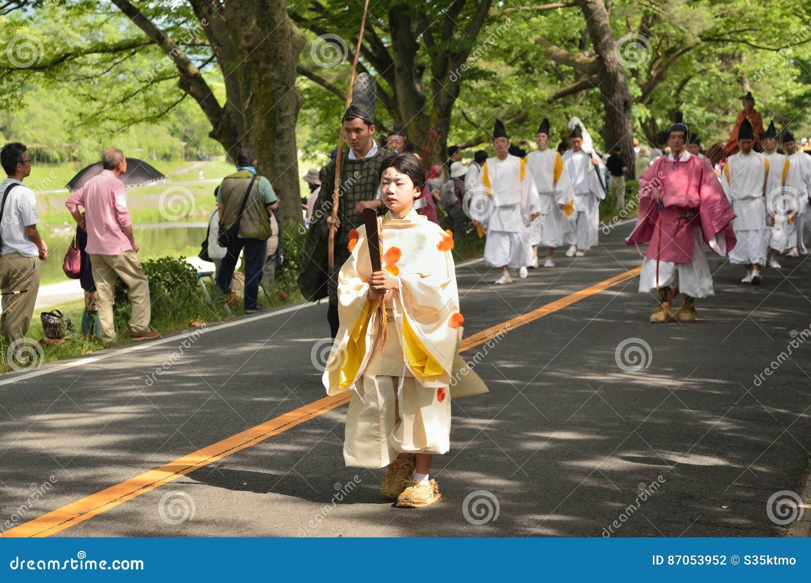 El desfile del festival de Kyoto Aoi, Japón