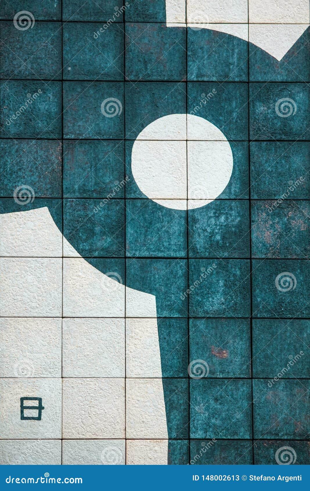 El detalle de un mural geométrico