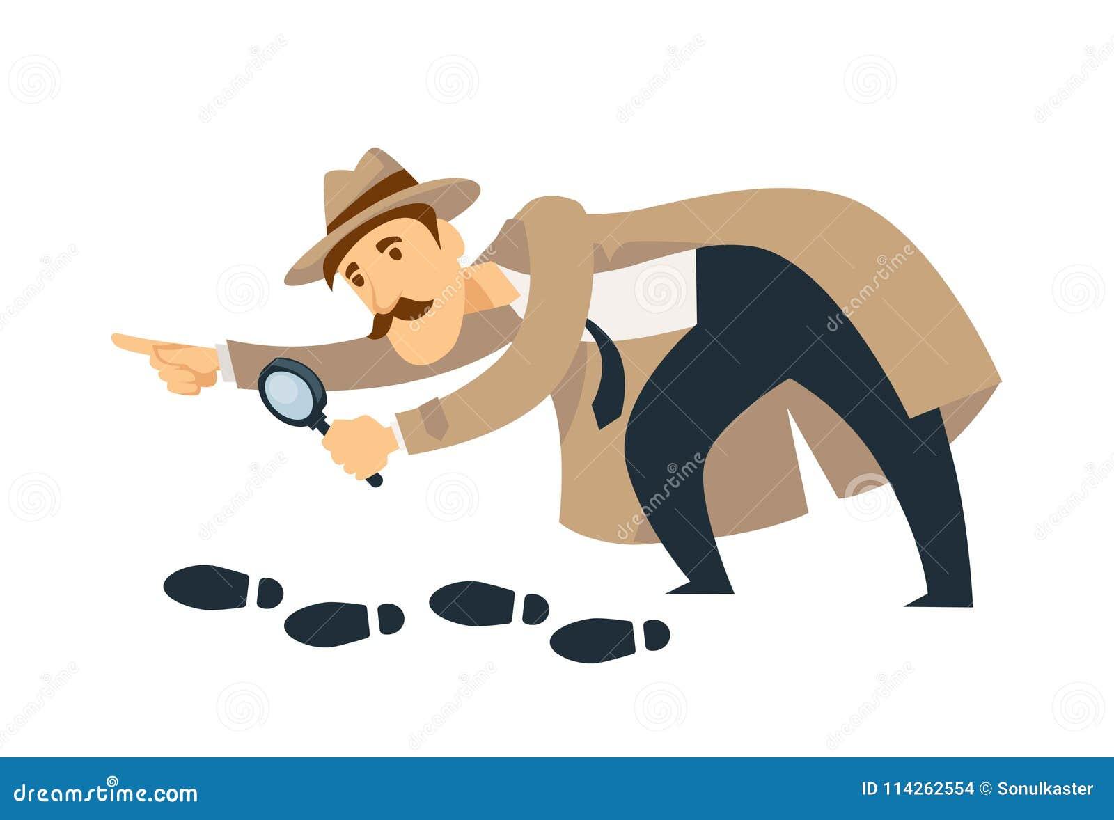 El detective profesional con los bigotes y la lupa sigue huellas