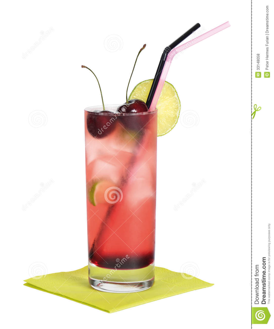 ... , creme de cassis, ginger ale and lime with ice in a longdrink glass