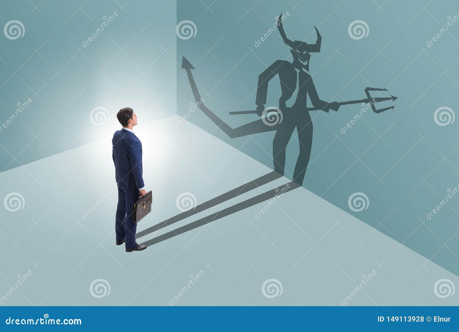 El diablo que oculta en el hombre de negocios - concepto del alter ego