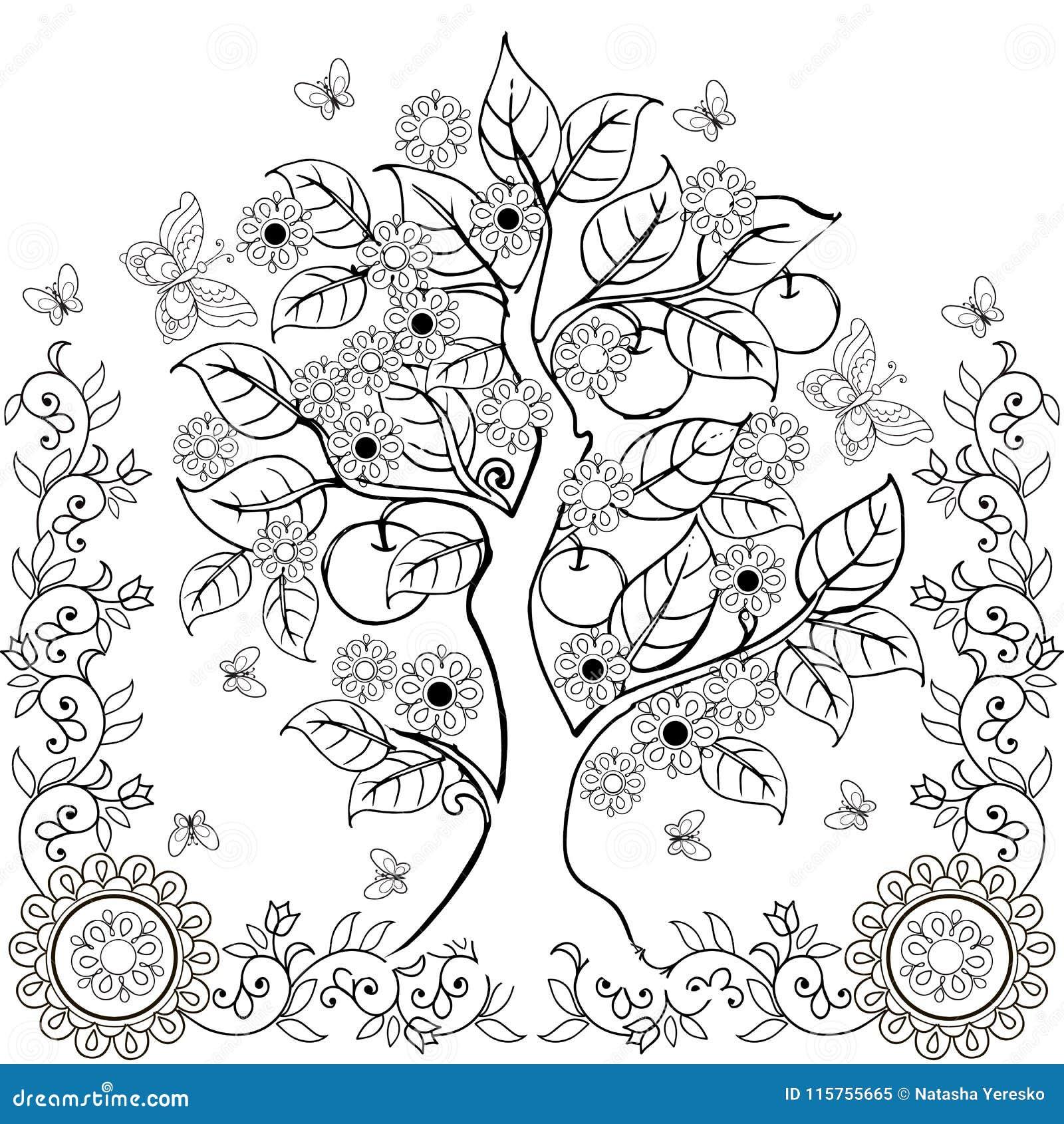El Dibujo Da El árbol Con Las Flores Y Las Manzanas Primavera Libros De  Colorear Adultos Ilustración del Vector - Ilustración de adultos, flores:  115755665