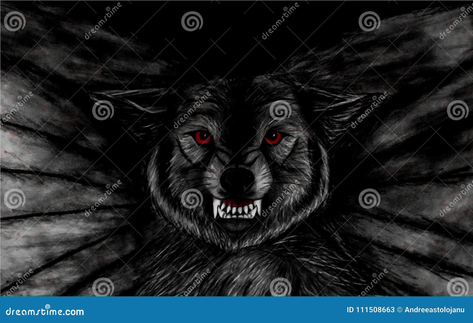 El Dibujo De Lápiz Del Primer De Un Lobo Negro Amenazador Del Vuelo