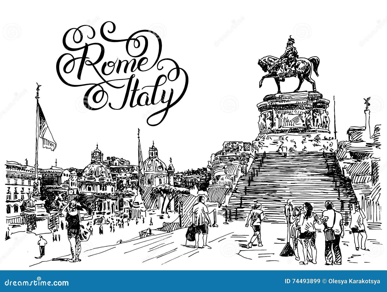 El dibujo de la mano del bosquejo del paisaje urbano famoso de Roma Italia con la mano dejó