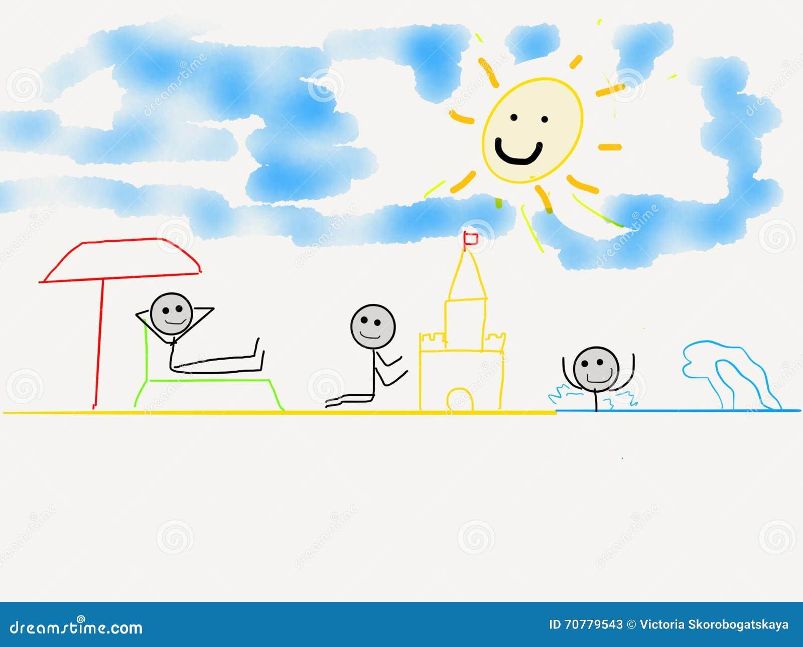 El Dibujo De Los Niños De La Playa Y Del Mar Stock De Ilustración