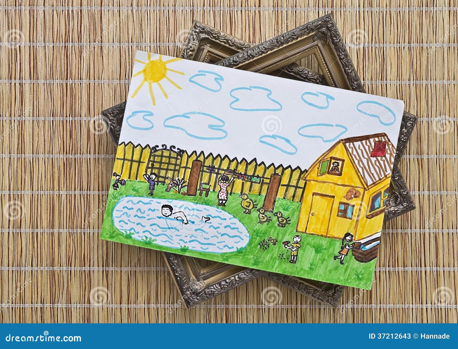El Dibujo De Los Niños Está En La Estera Imagen de archivo - Imagen ...