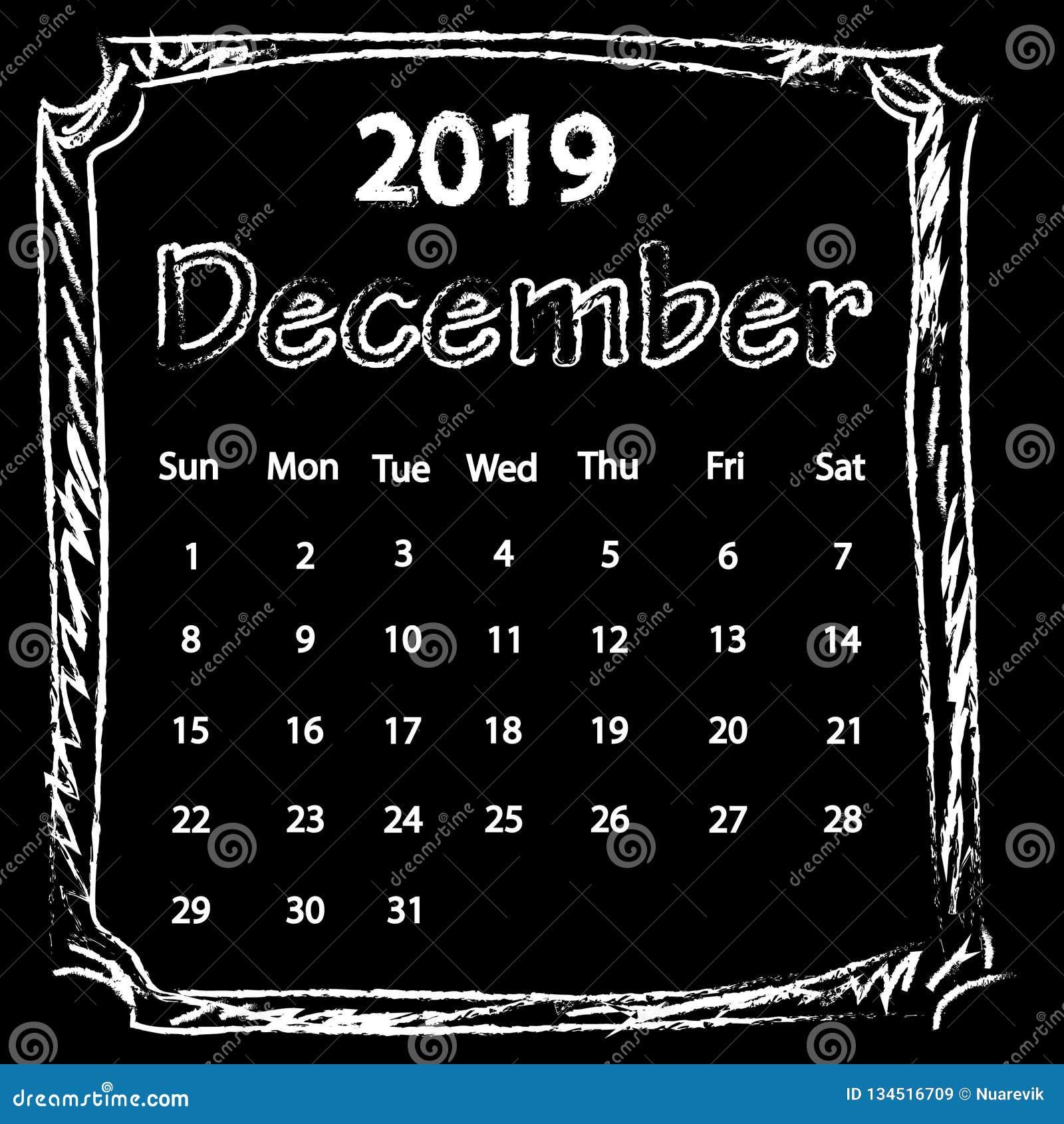 Calendario Dibujo Blanco Y Negro.El Dibujo De Tiza Blanco Garabatea El Calendario Del Marco
