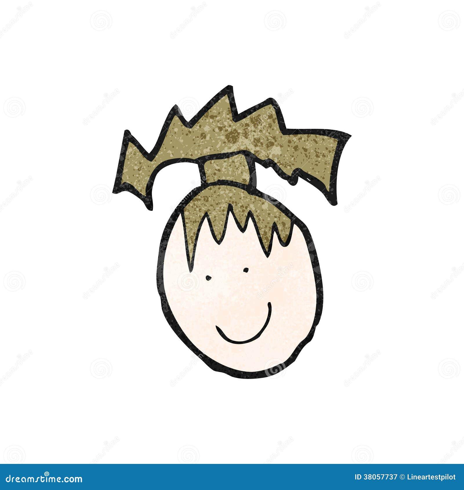 El Dibujo Del Niño De Una Cara Femenina Feliz Ilustración Del Vector