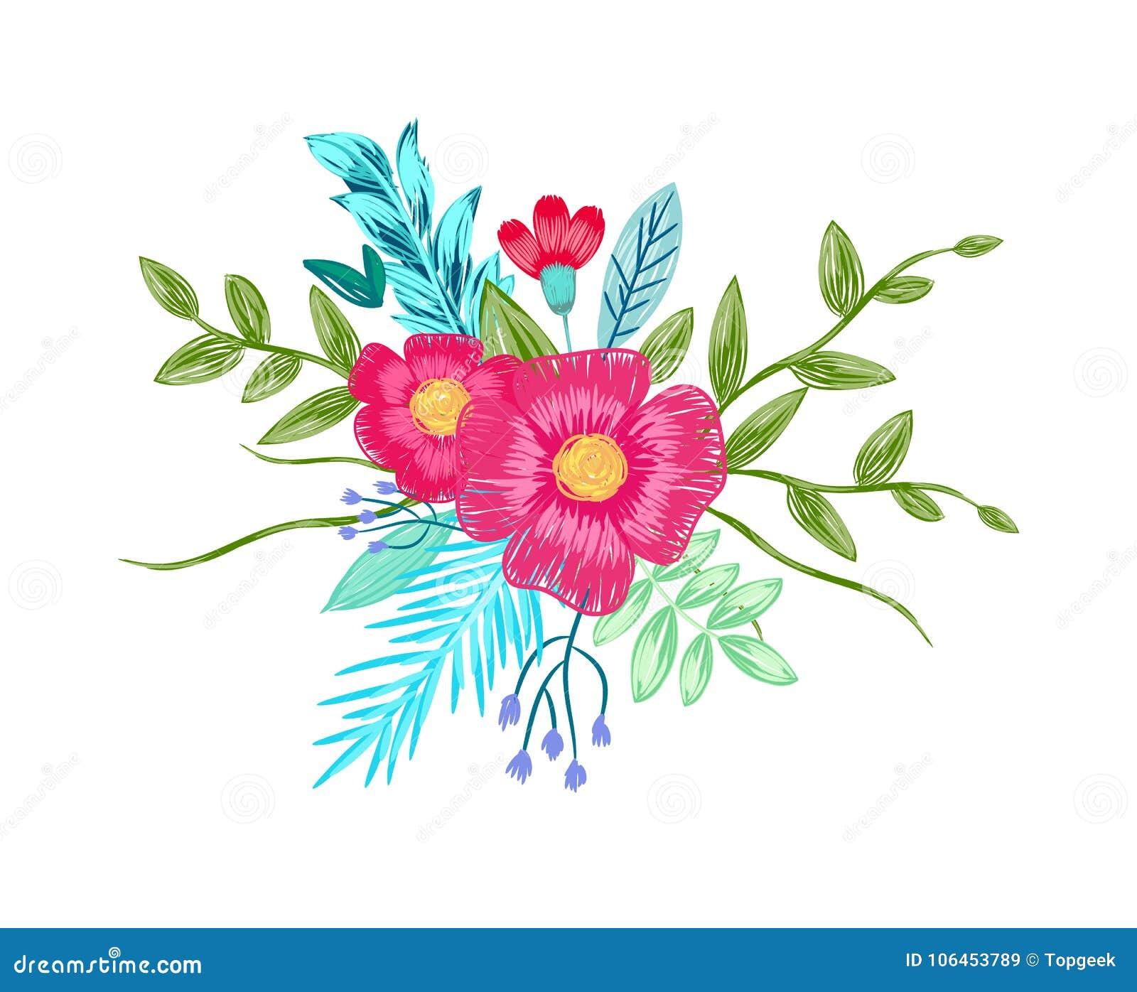 El Dibujo Del Ramo De La Flor Por Color Dibujó A Lápiz Vector