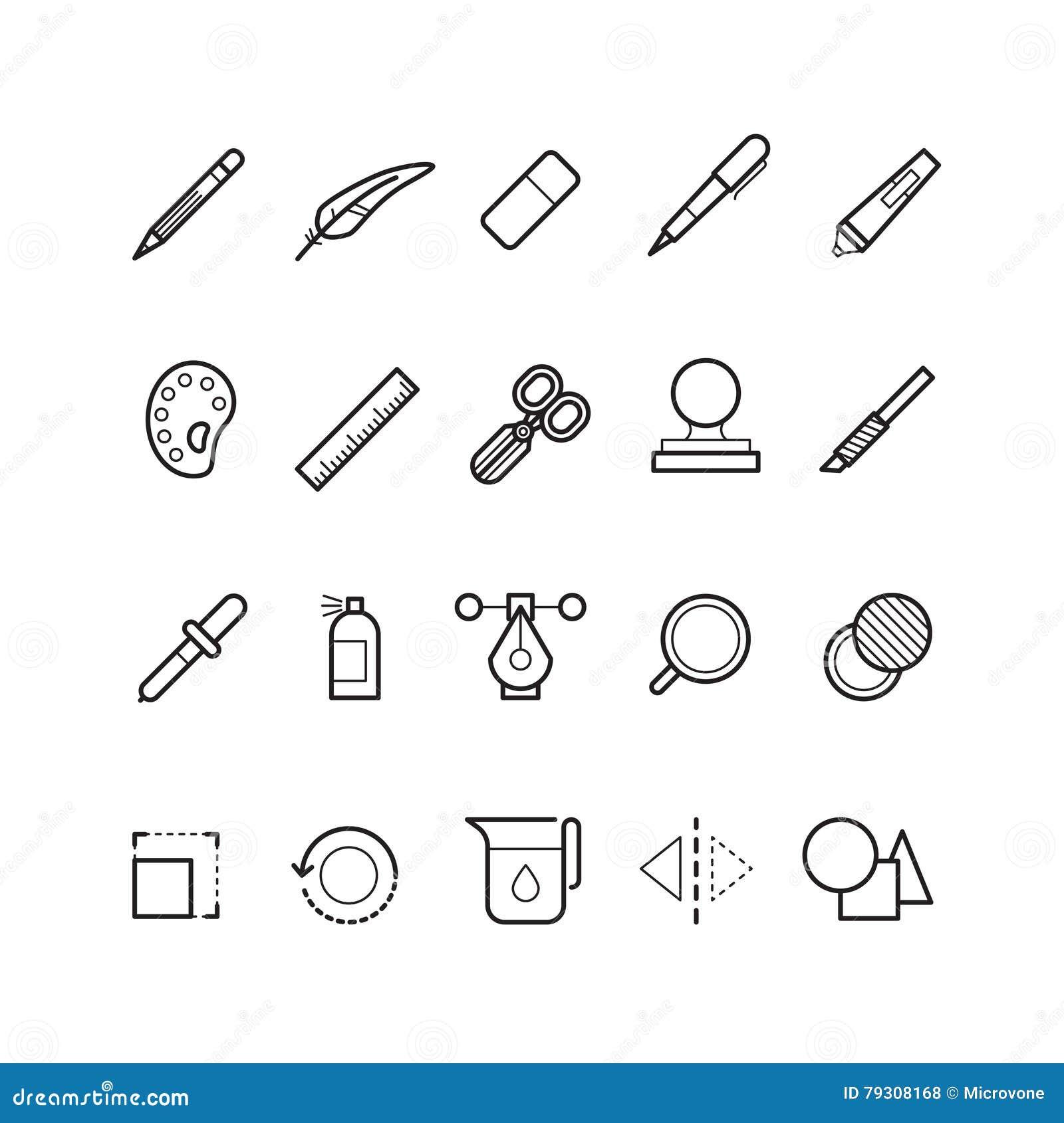El Dibujo, Línea Iconos Del Vector De Las Herramientas De Diseño Del ...