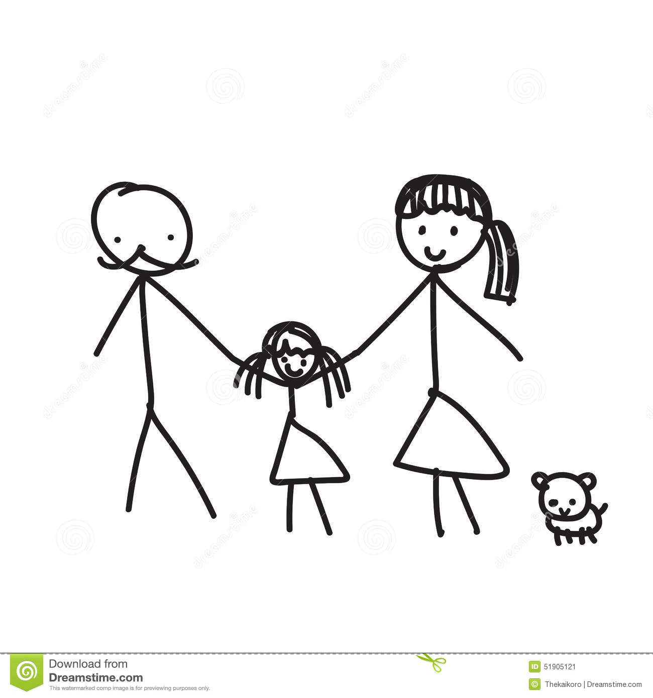El dibujo lineal de mano una familia parents animal