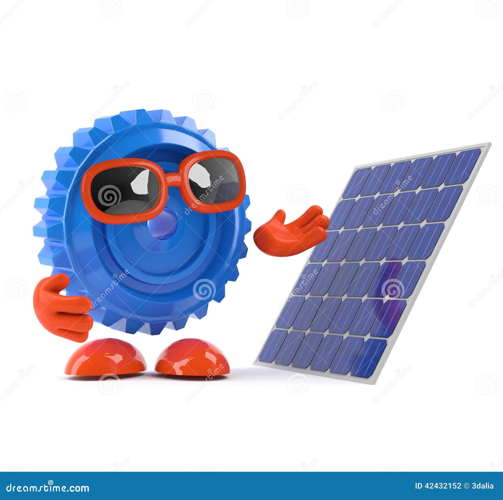 El diente 3d mira un panel solar