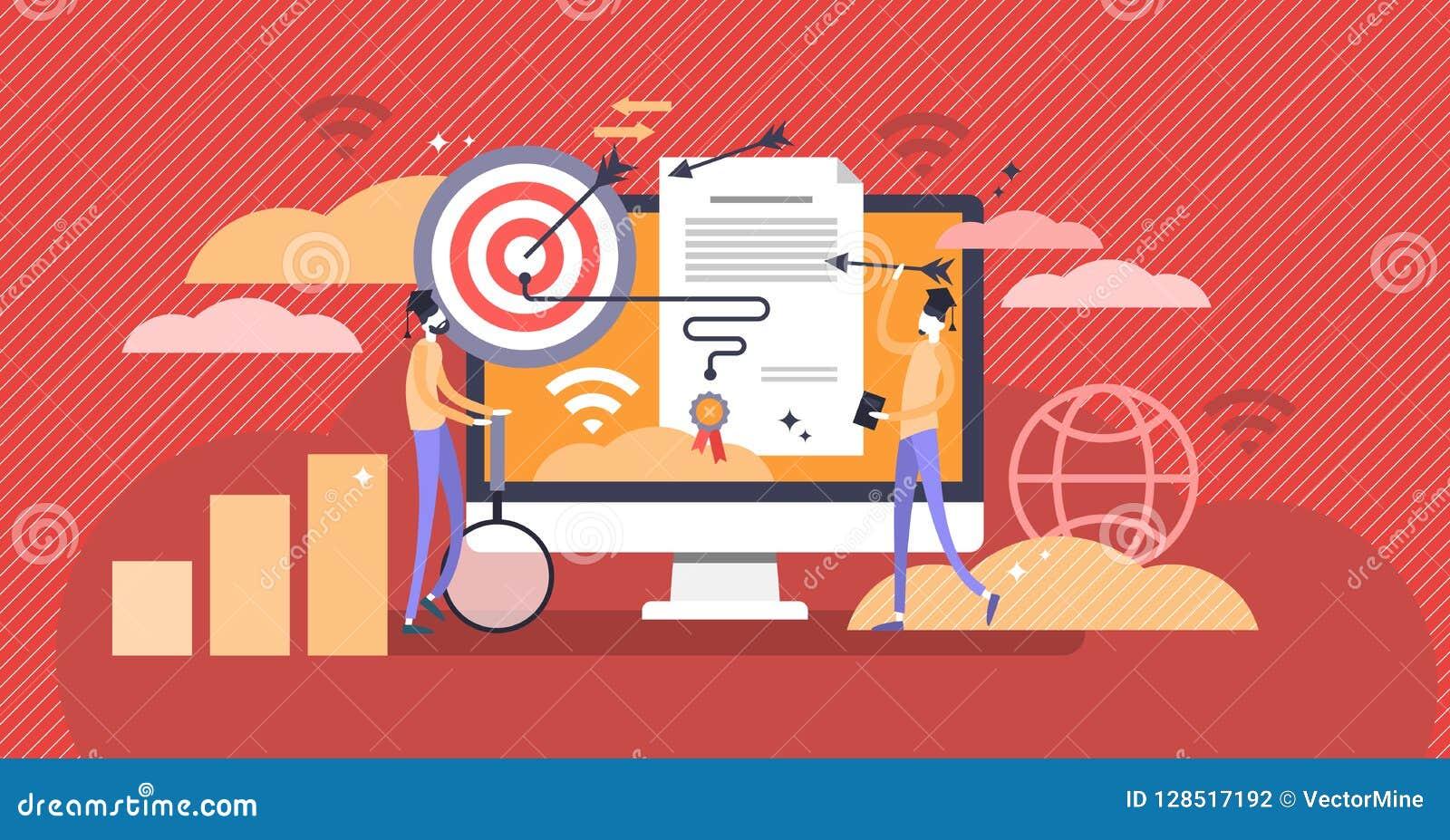 El diploma del márketing y el concepto de aprendizaje en línea vector el ejemplo