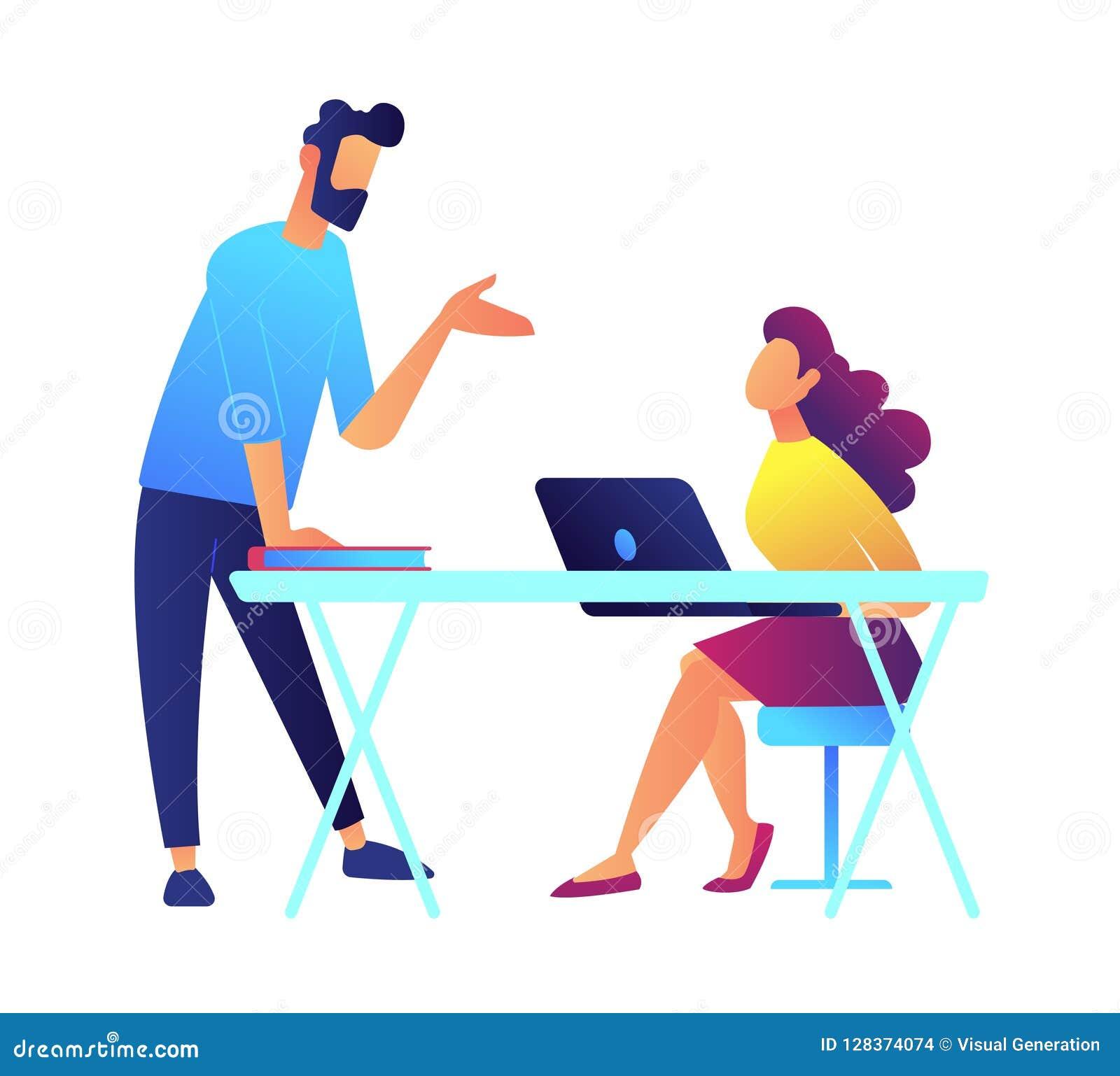 El discurso y el estudiante del profesor escucha sentándose en el escritorio con el ejemplo del vector del ordenador portátil