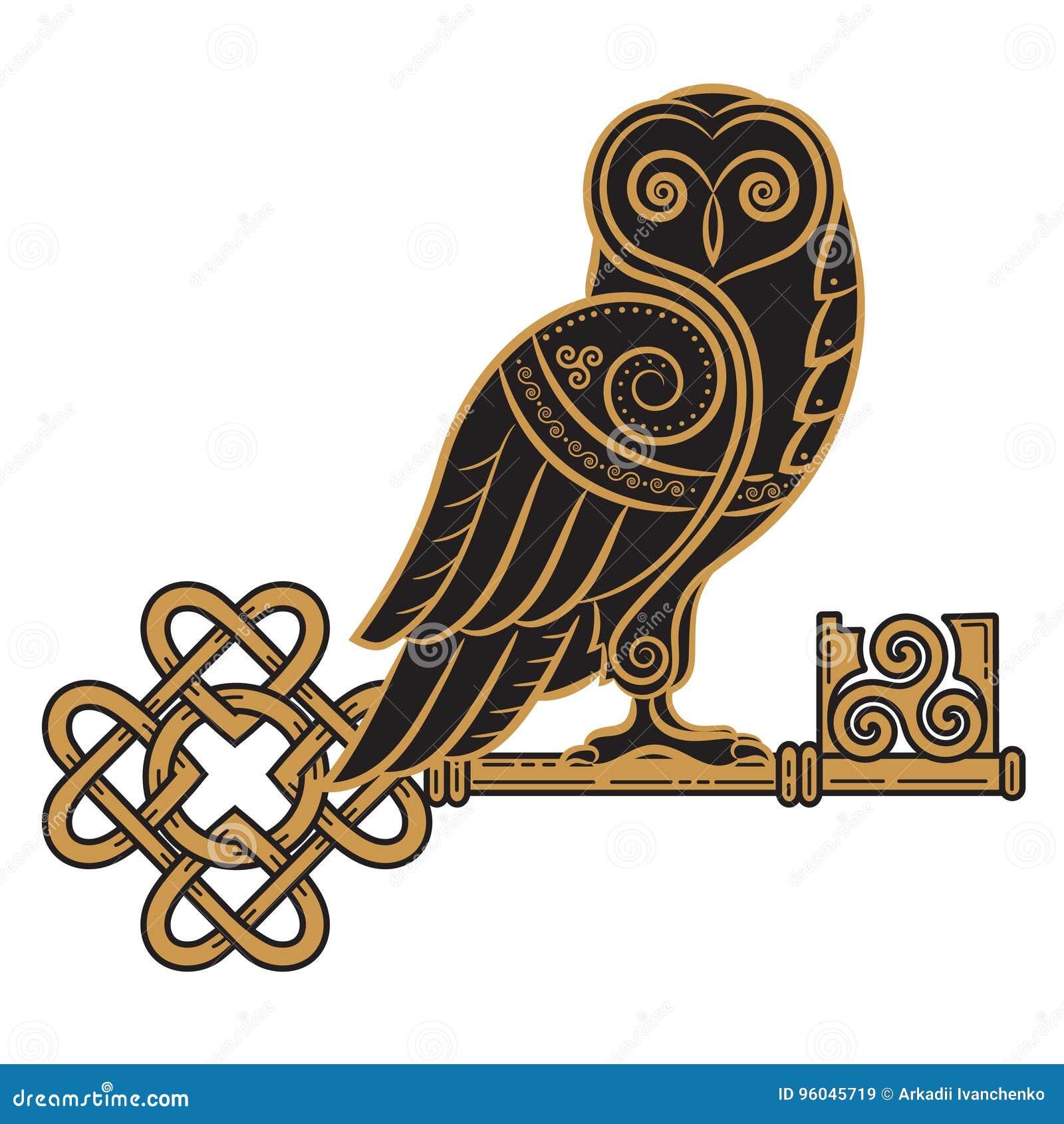 El diseño céltico Búho y llave en el de estilo celta, un símbolo de la sabiduría