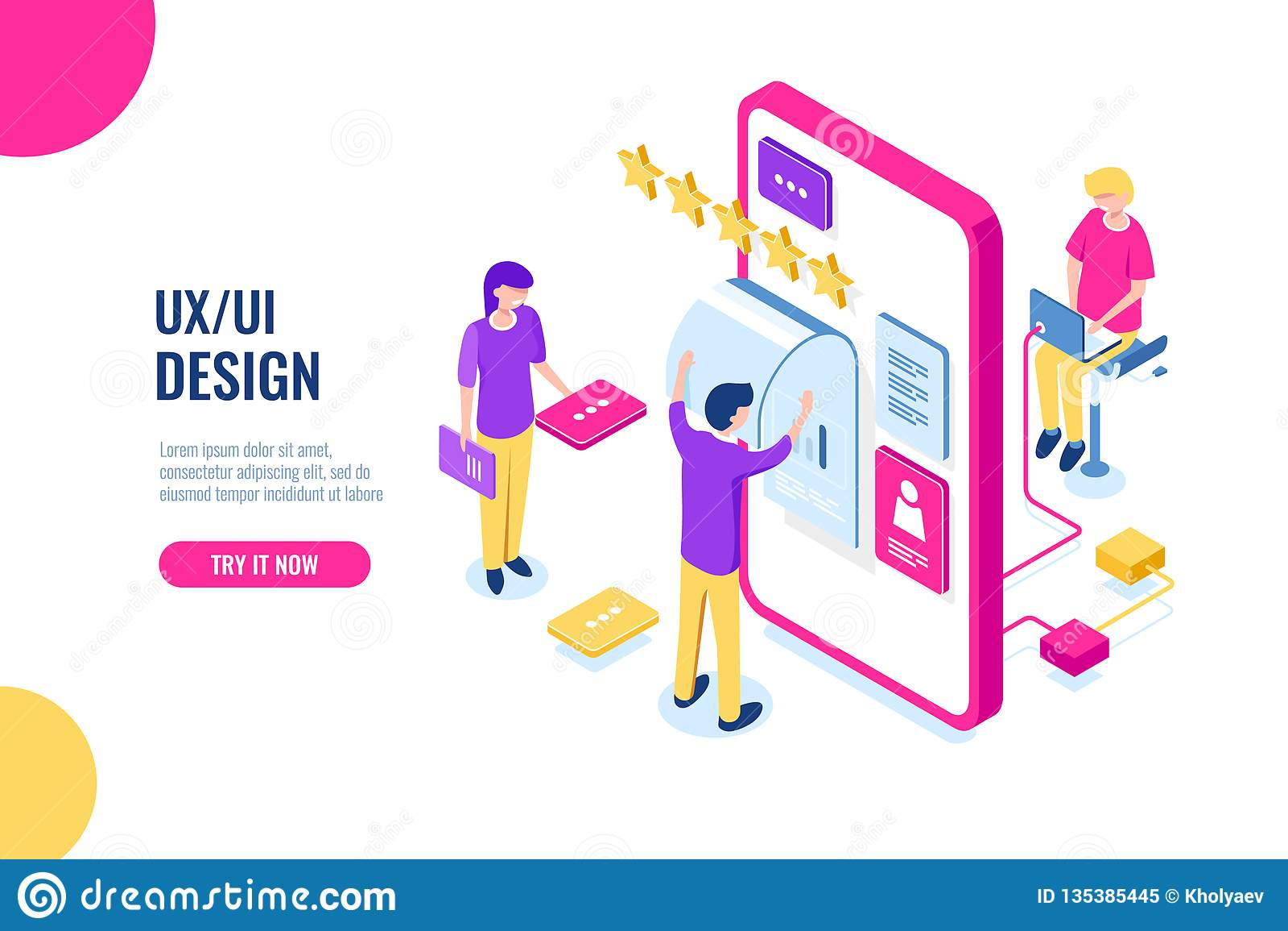 El diseño de UX UI, uso móvil del desarrollo, edificio de la interfaz de usuario, pantalla del teléfono móvil, gente trabaja y ay
