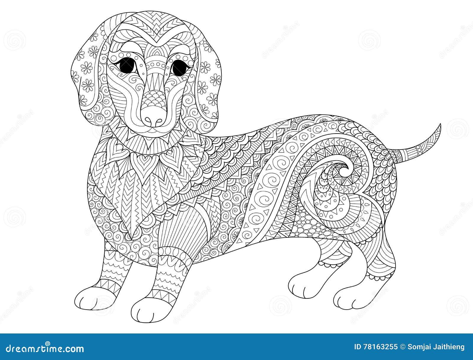 El Diseño De Zendoodle De Perrito Del Perro Basset Para El Libro De ...