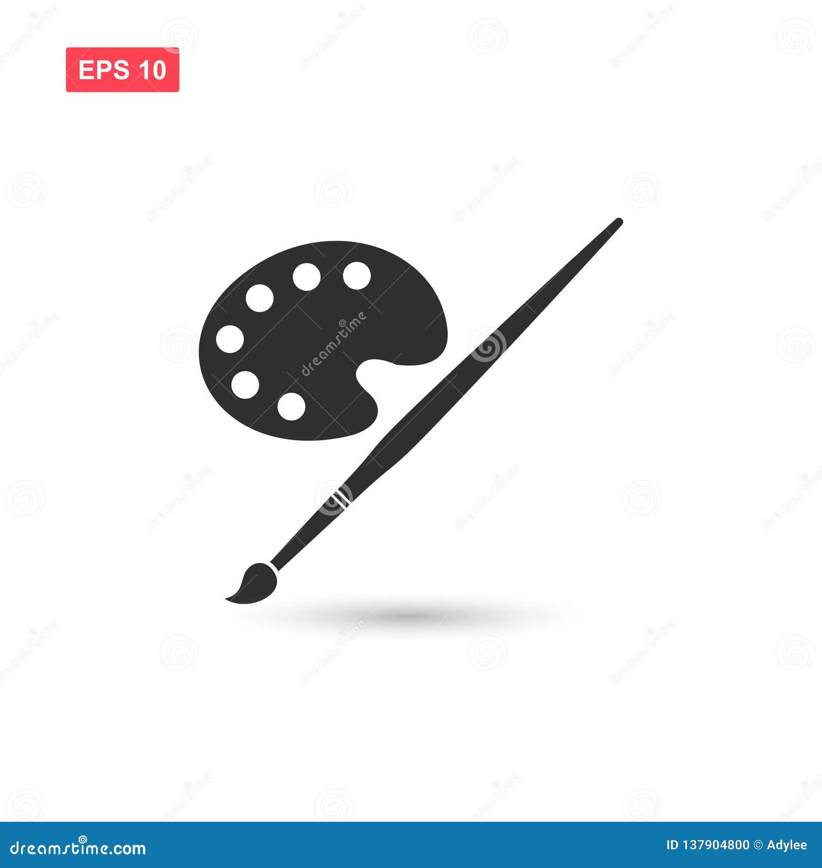 El diseño del vector del icono del pallete de la pintura del arte aisló 3
