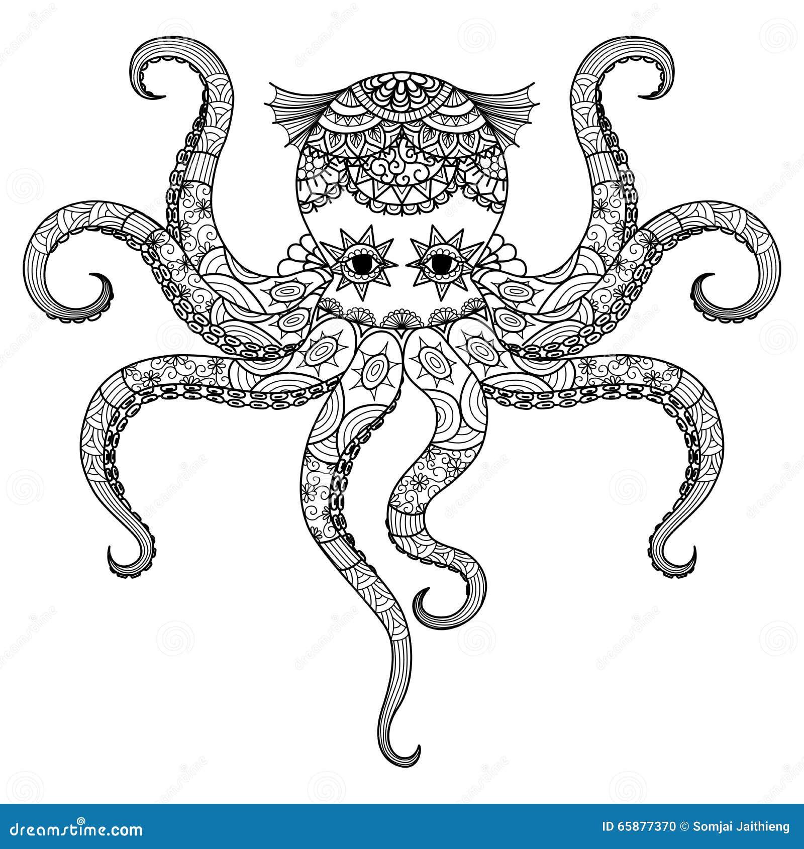 El Diseño Del Zentangle Del Pulpo Del Dibujo Para El Libro De