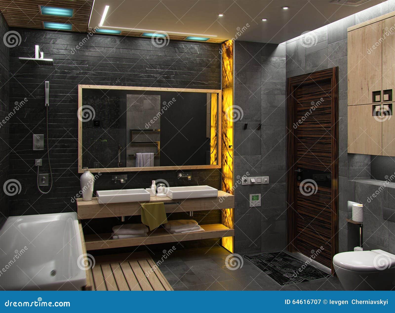 El Diseño Interior Minimalista Del Cuarto De Baño, Rinde 3D Stock de ...