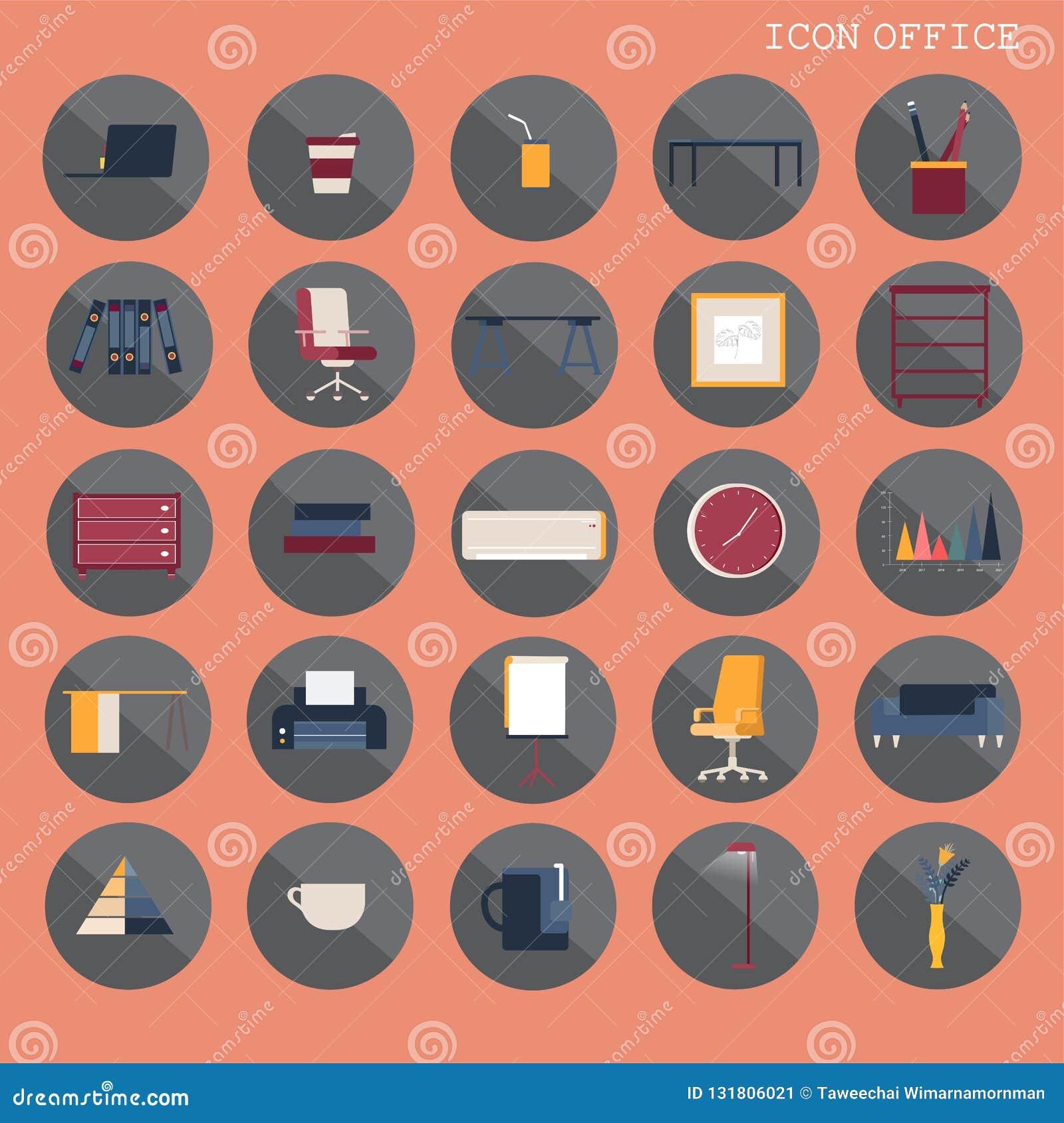El diseño plano básico de 25 sistemas, contiene los iconos tales como lugar de trabajo, negocio y los artículos del mobiliario de