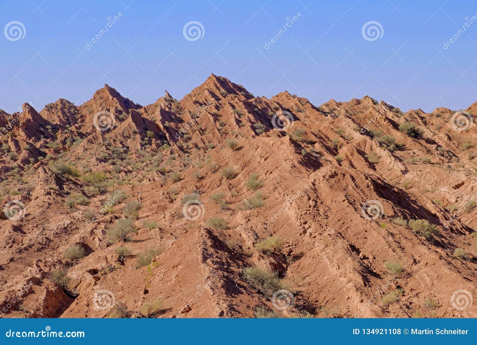 El doblar y columna hexagonal natural de las montañas, barranco de Cuesta Del Viento, rodeo, San Juan, la Argentina