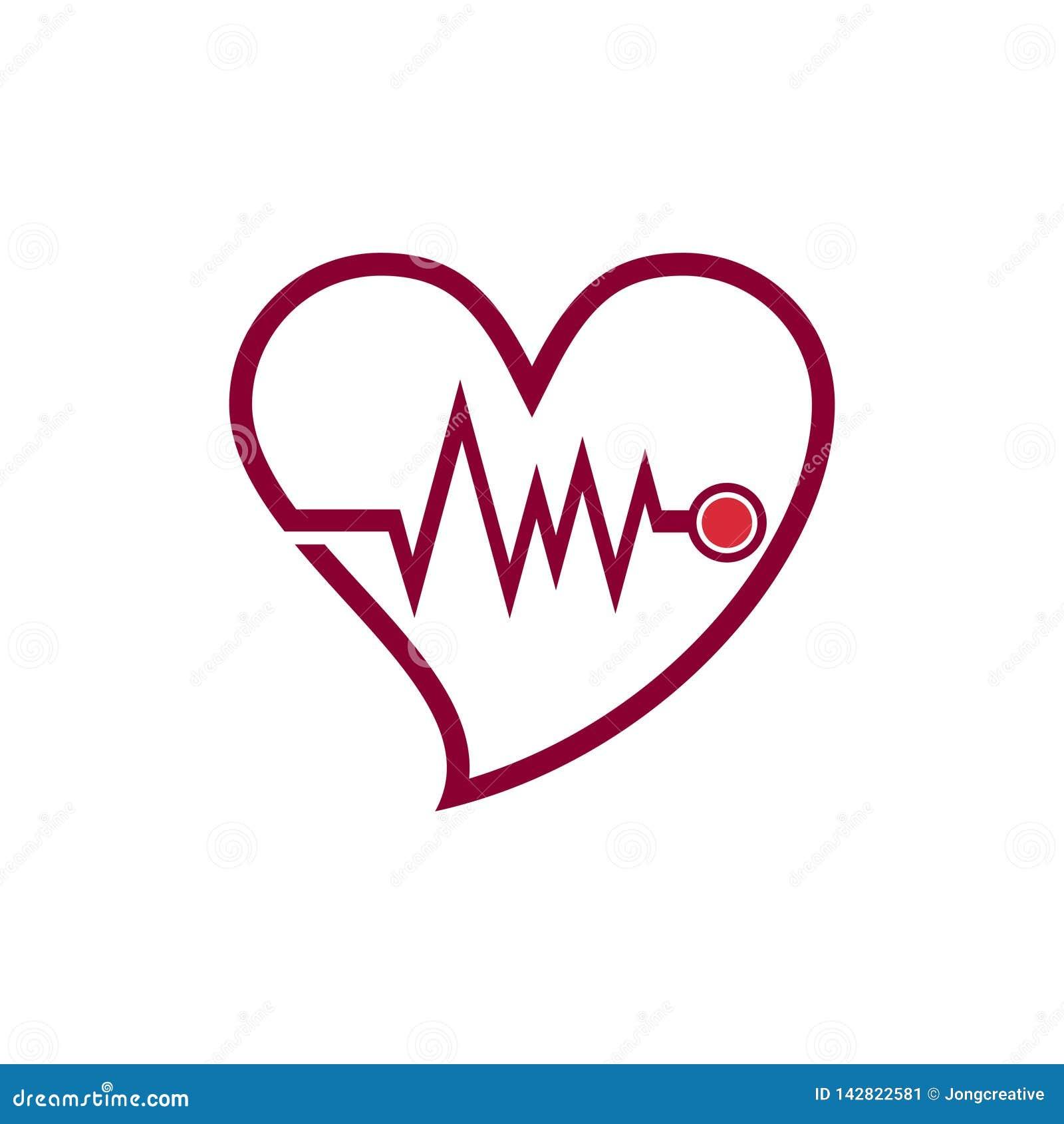 El doctor cardiaco Love Care Line Logo Icon del corazón del latido del corazón