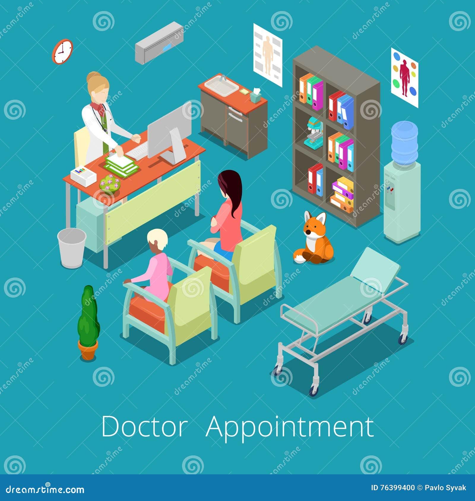 El doctor interior Appointment del gabinete médico isométrico con el paciente