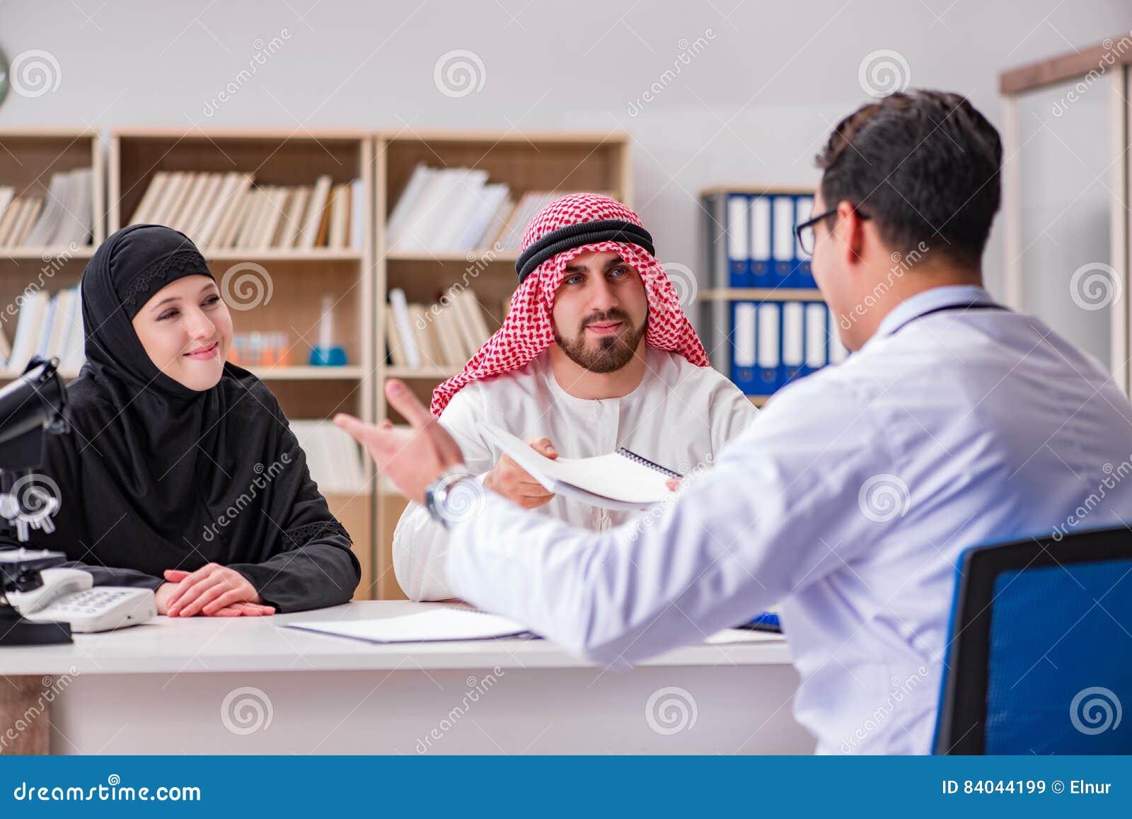 El doctor que consulta a la familia árabe en el hospital