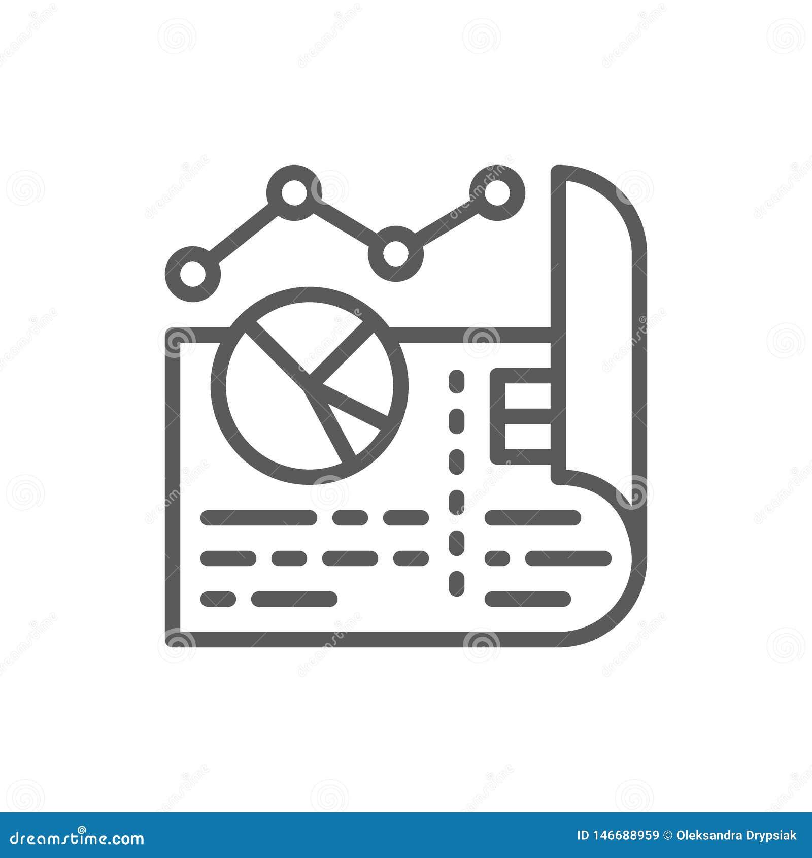 El documento con los diagramas y los gráficos circulares alinean el icono