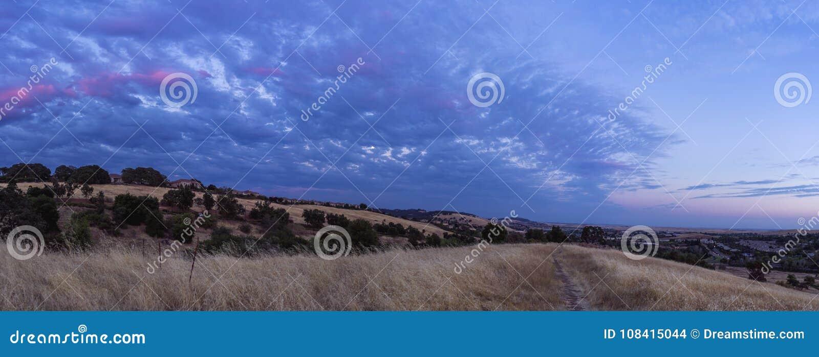 El Dorado Hills Blue Sunset Panorama