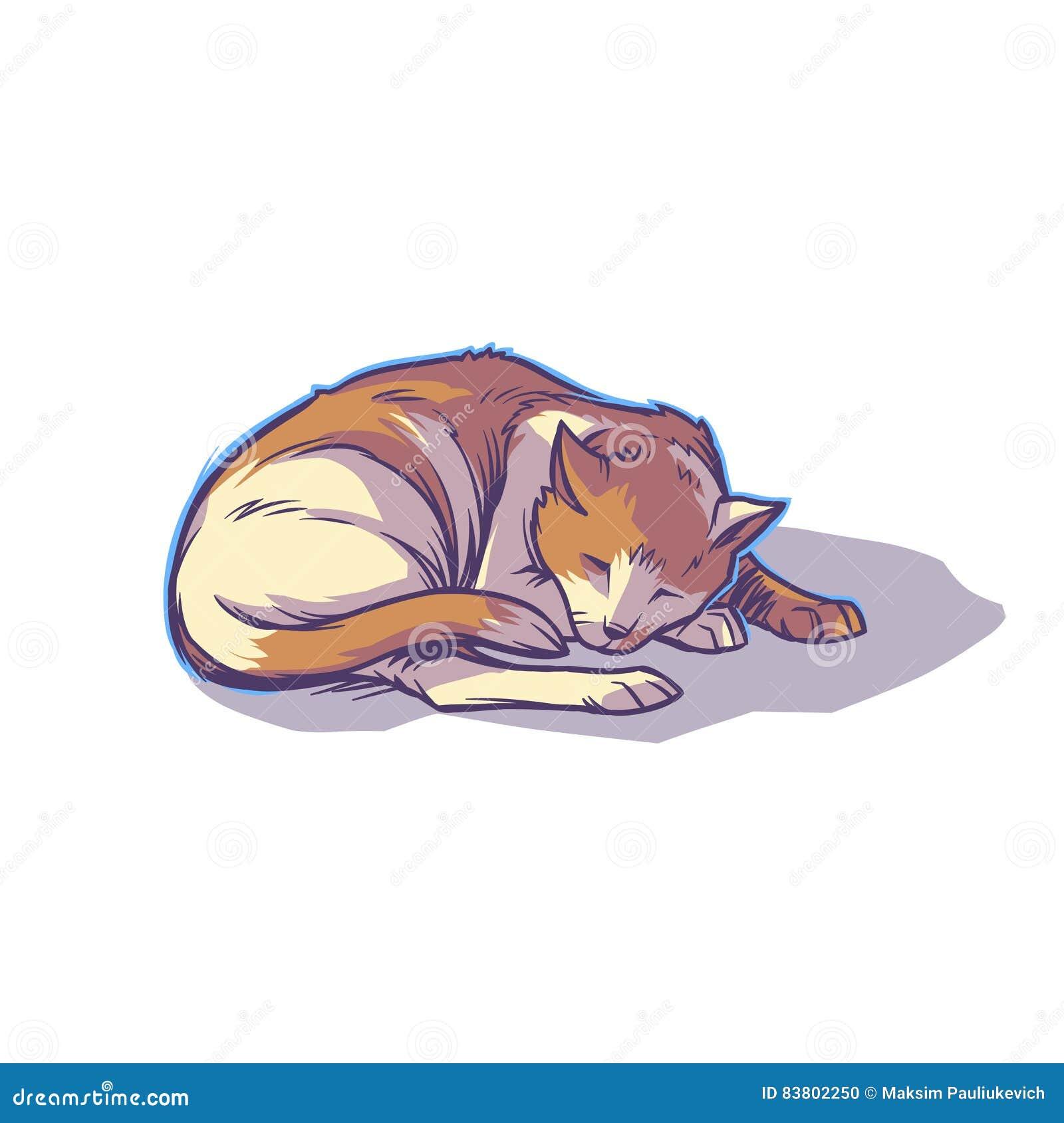 El dormir manchado del gato encrespado para arriba