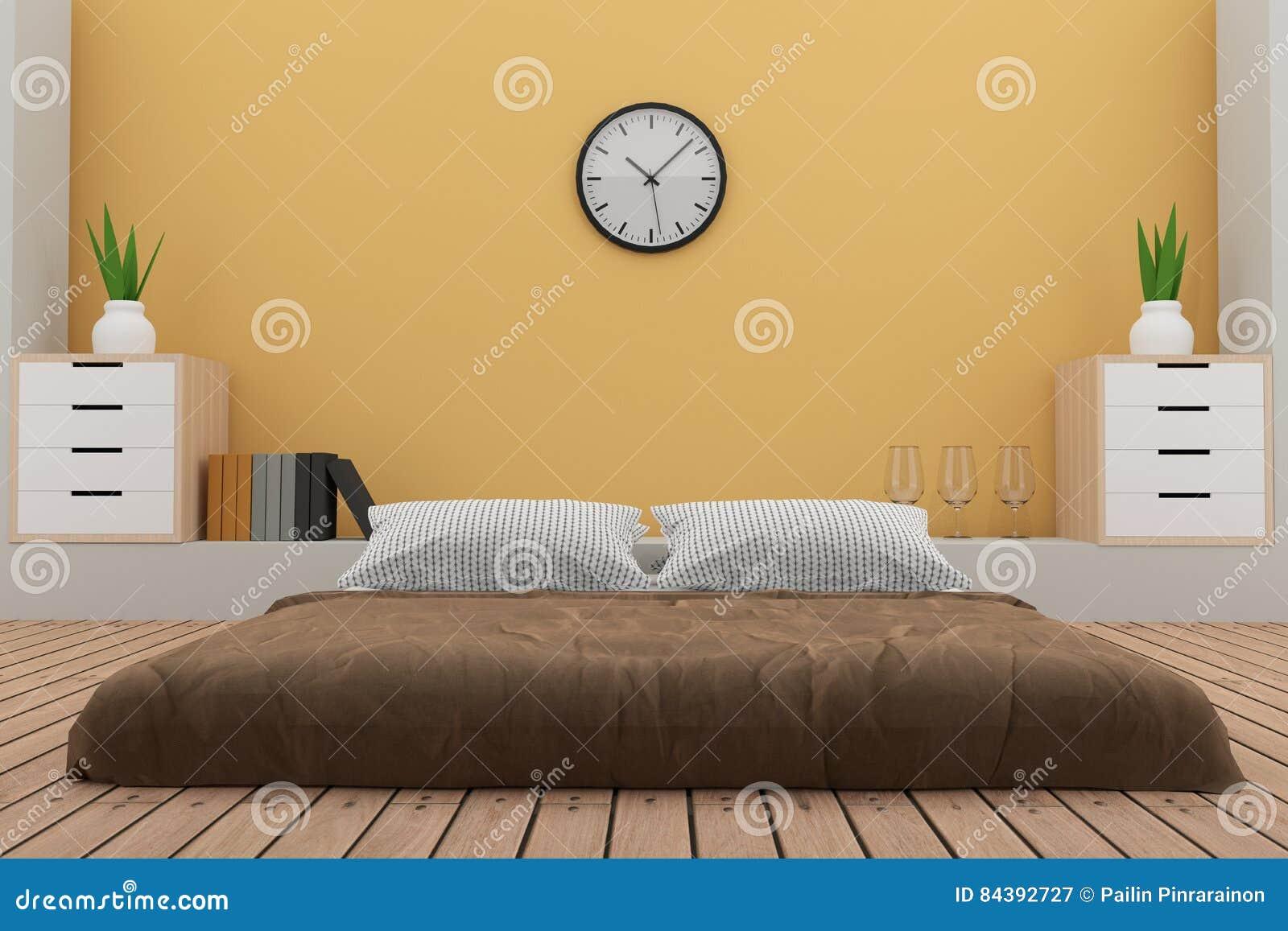 El Dormitorio Con La Decoración En El Cuarto Amarillo En 3D Rinde ...