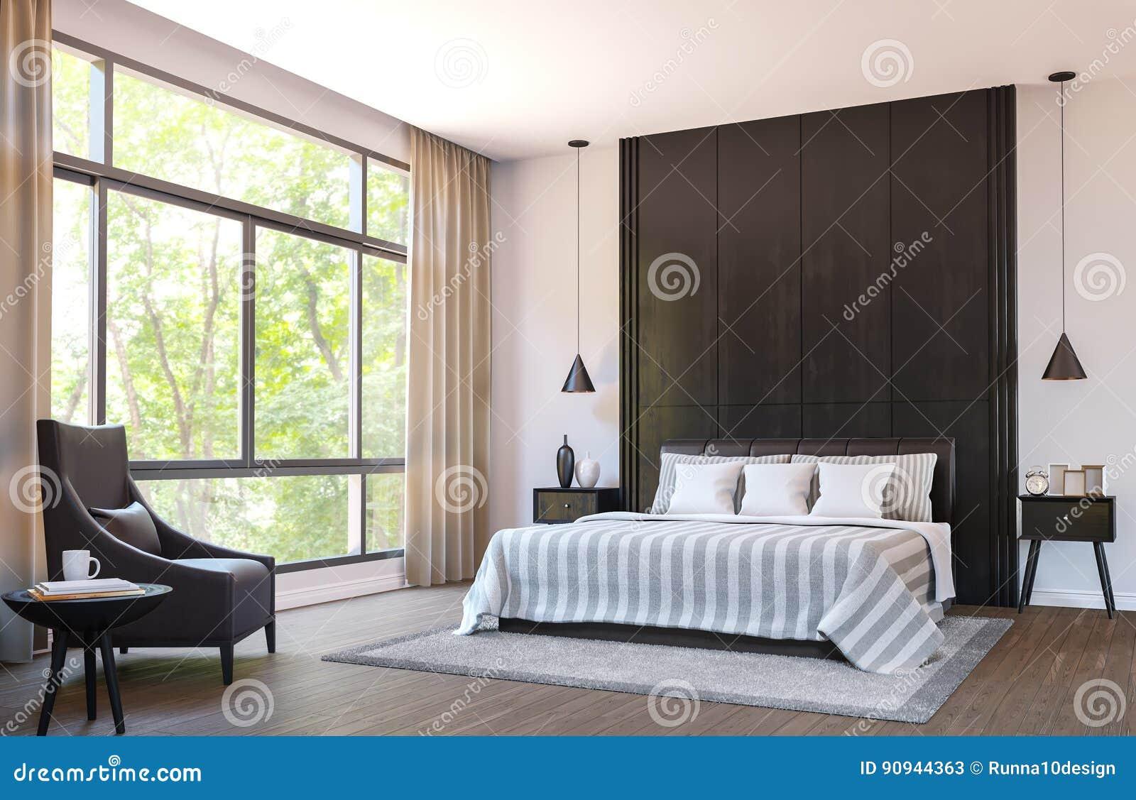 El Dormitorio Moderno Adorna Con Muebles De Cuero Marrones E  # Muebles Marrones