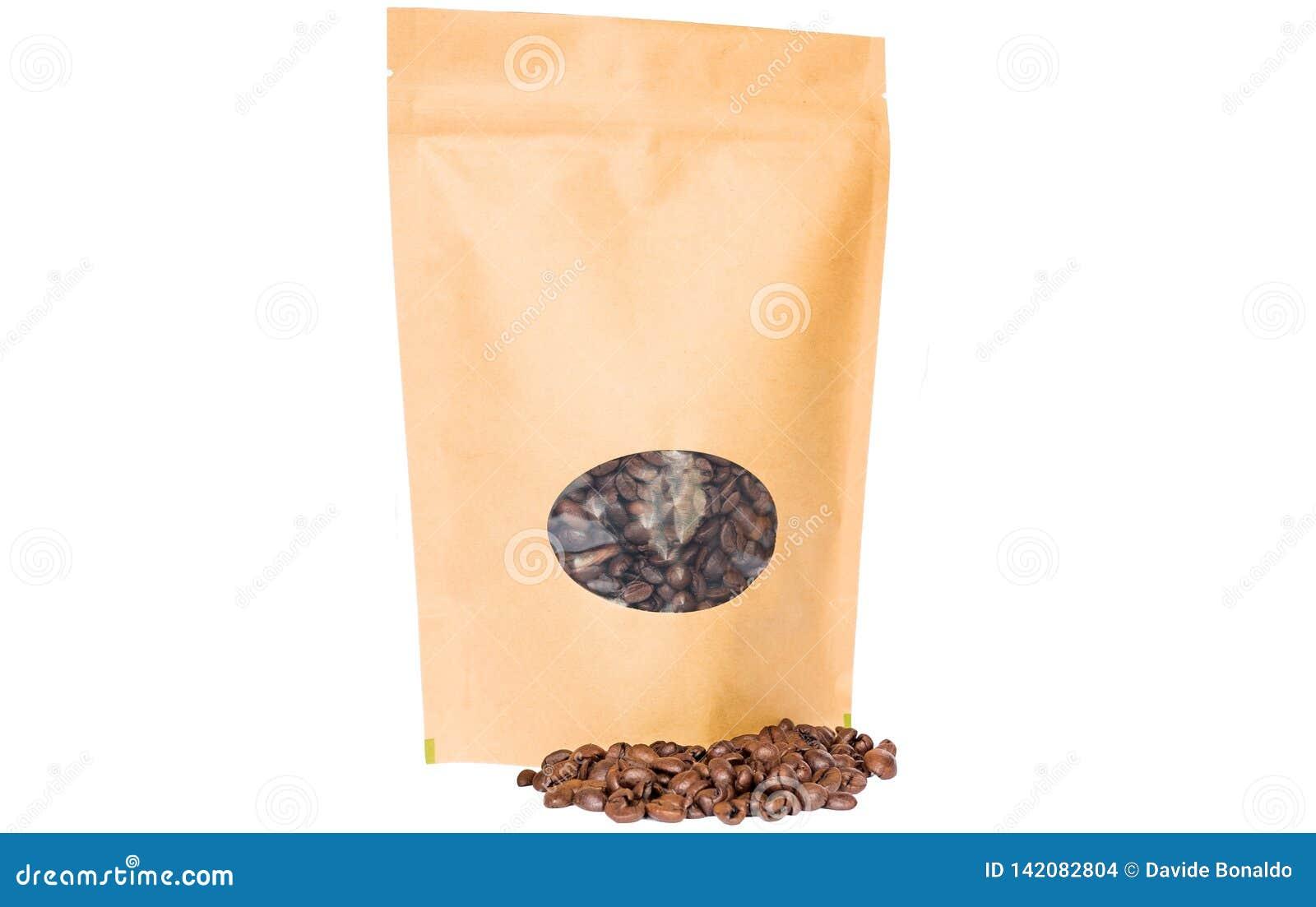 El doypack del papel de Brown Kraft se levanta la bolsa con la cremallera oval de la ventana llenada de los granos de café en el