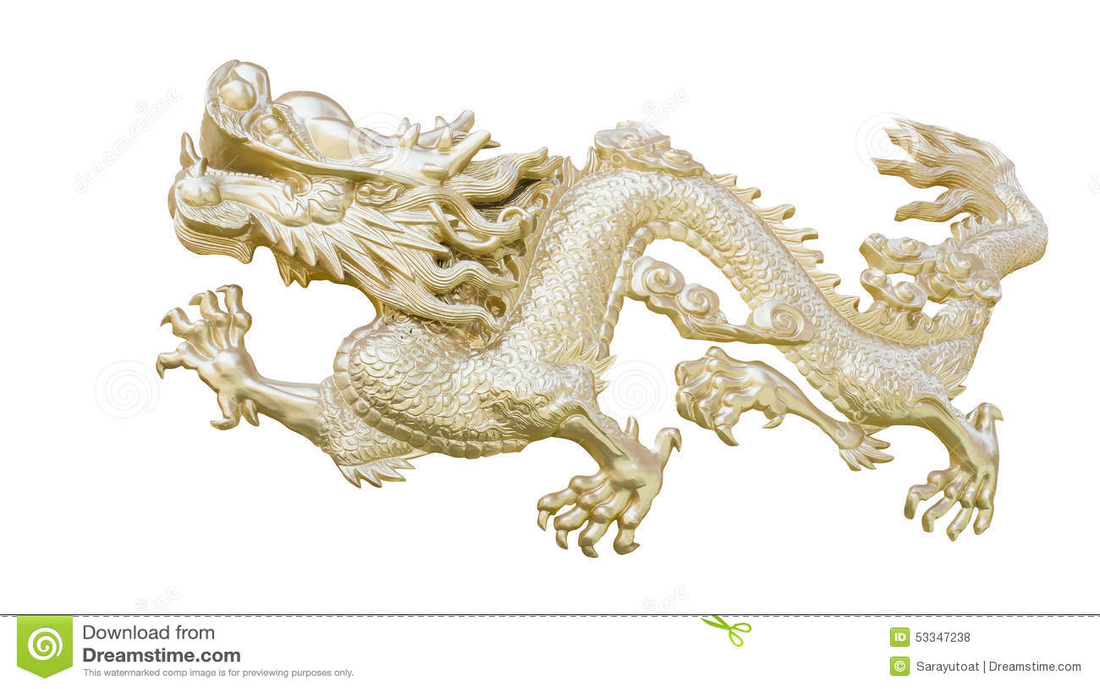 El Dragón Chino De Oro Talla El Fondo Blanco Del Aislante Con Clippi