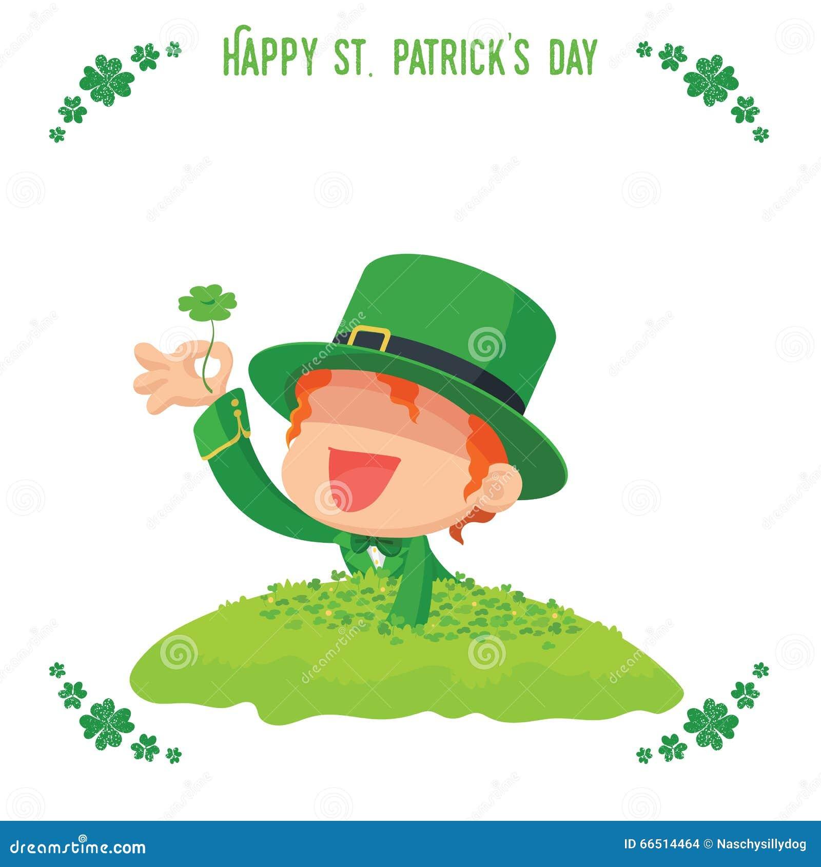 El duende encontró un trébol de cuatro hojas para la tarjeta del día de St  Patrick b5721756c62a