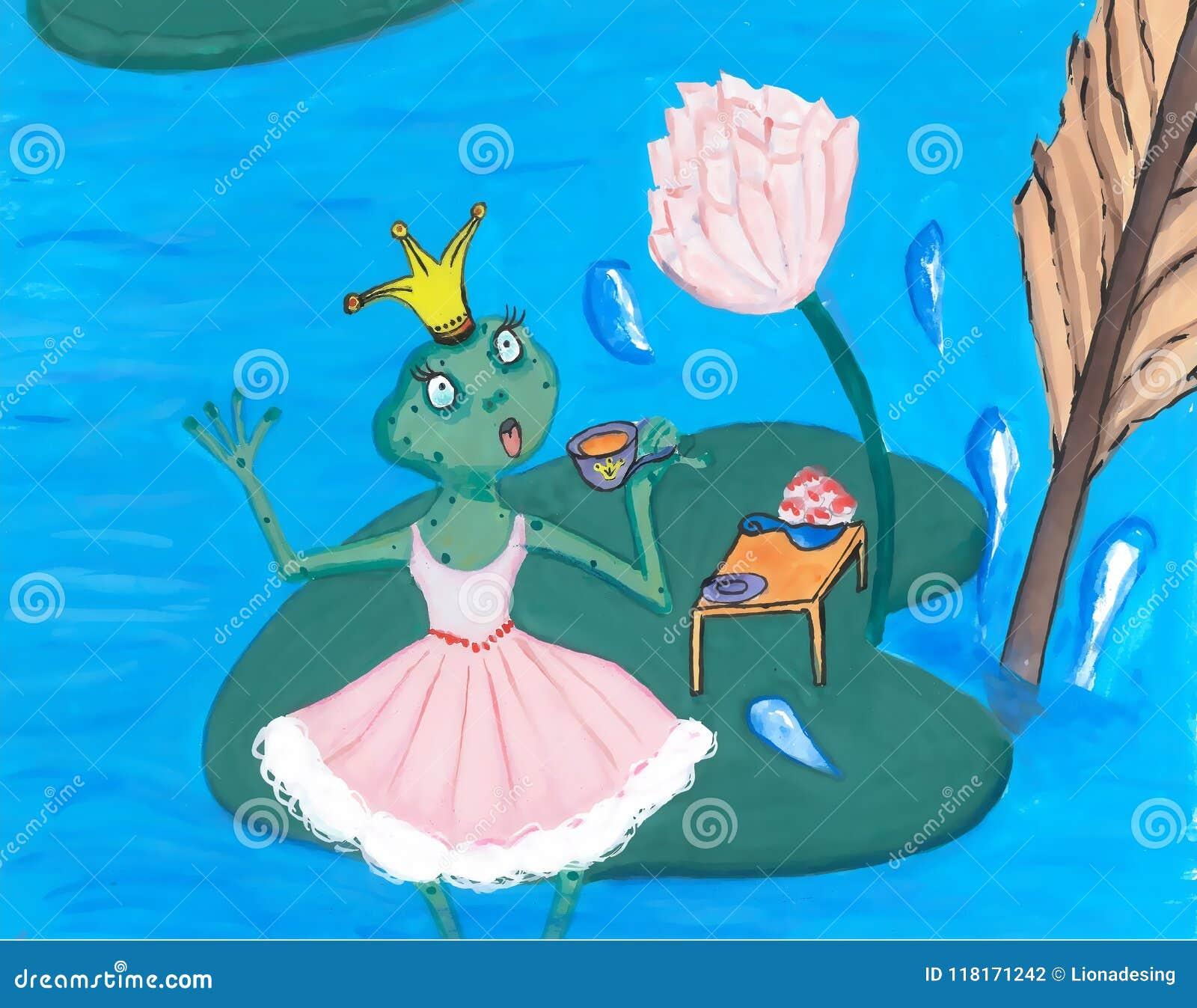 Vestido En Dulce Del Princesa A Té De Consumición Asombró El Frog deroxCBW