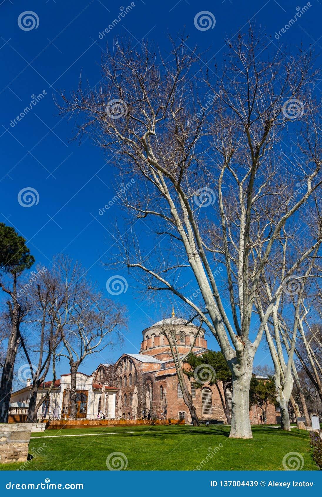 El edificio de la iglesia bizantina de St Irene en Estambul, Turquía