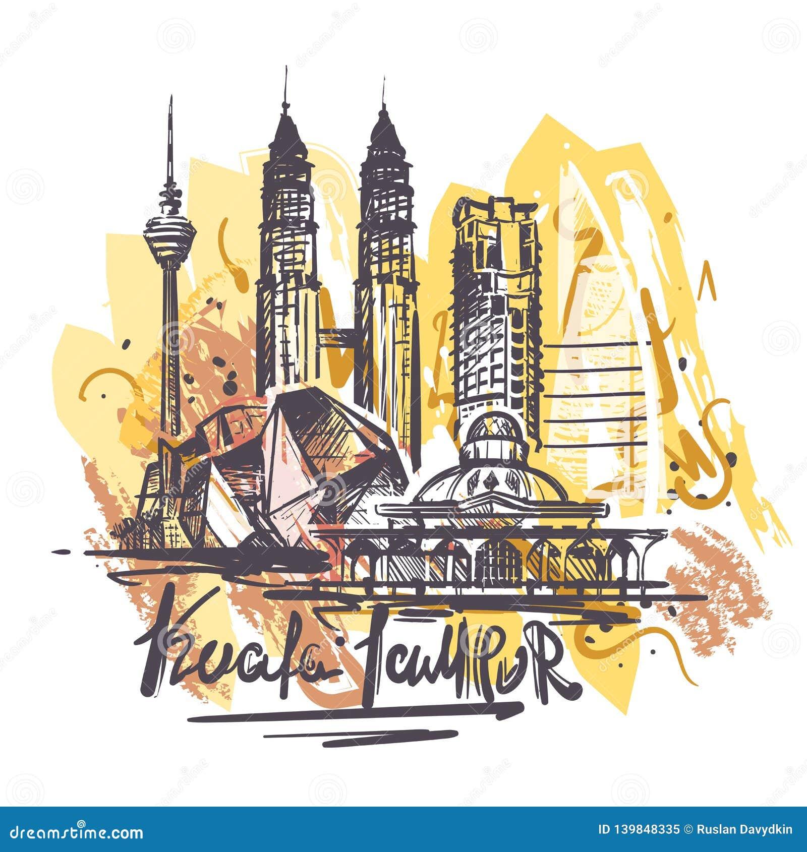 El ejemplo abstracto del dibujo del color del lampur de Kuala aisló