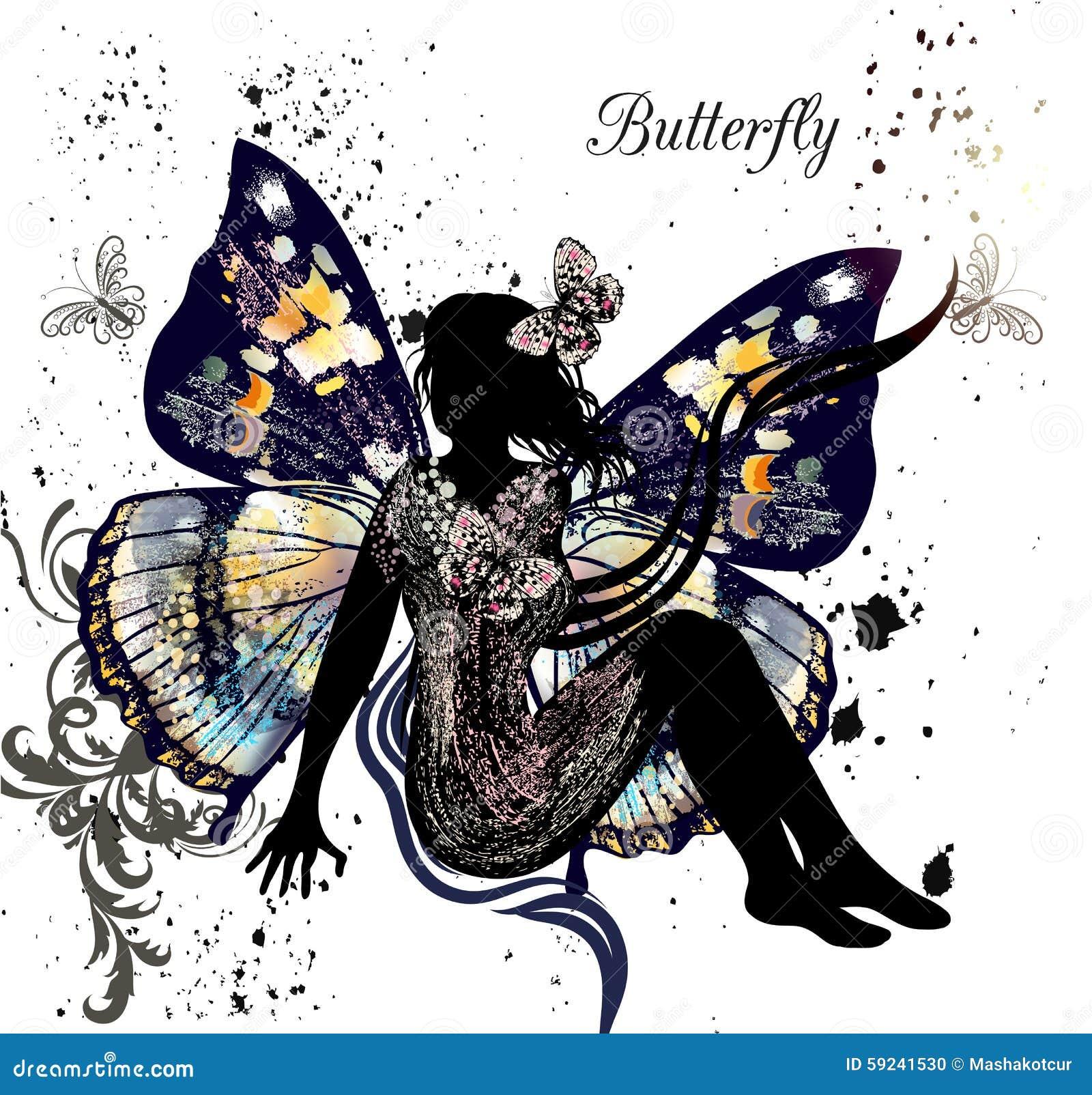 Download El Ejemplo Con La Hada Floral Se Sienta En El Ambiente De Mariposas Ilustración del Vector - Ilustración de traiga, floral: 59241530