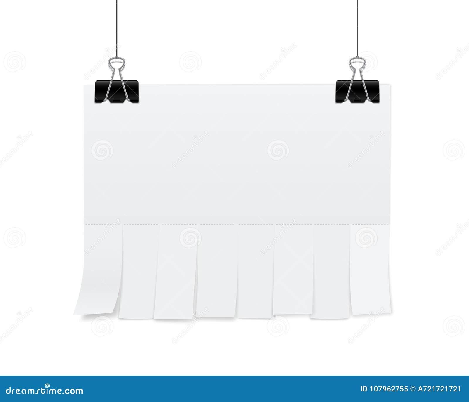El ejemplo creativo del vector de la publicidad vacía del papel de hoja en blanco con rasga resbalones del corte aislado en fondo