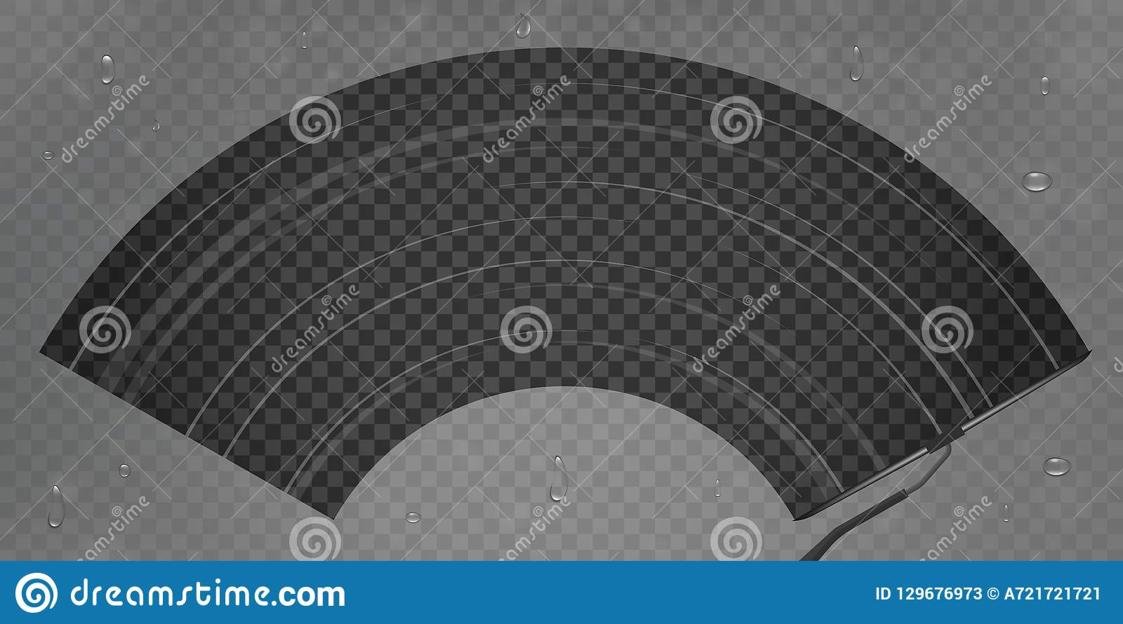 El ejemplo creativo del vector del vidrio realista del trapo del parabrisas del coche, limpiador limpia el parabrisas aislado en