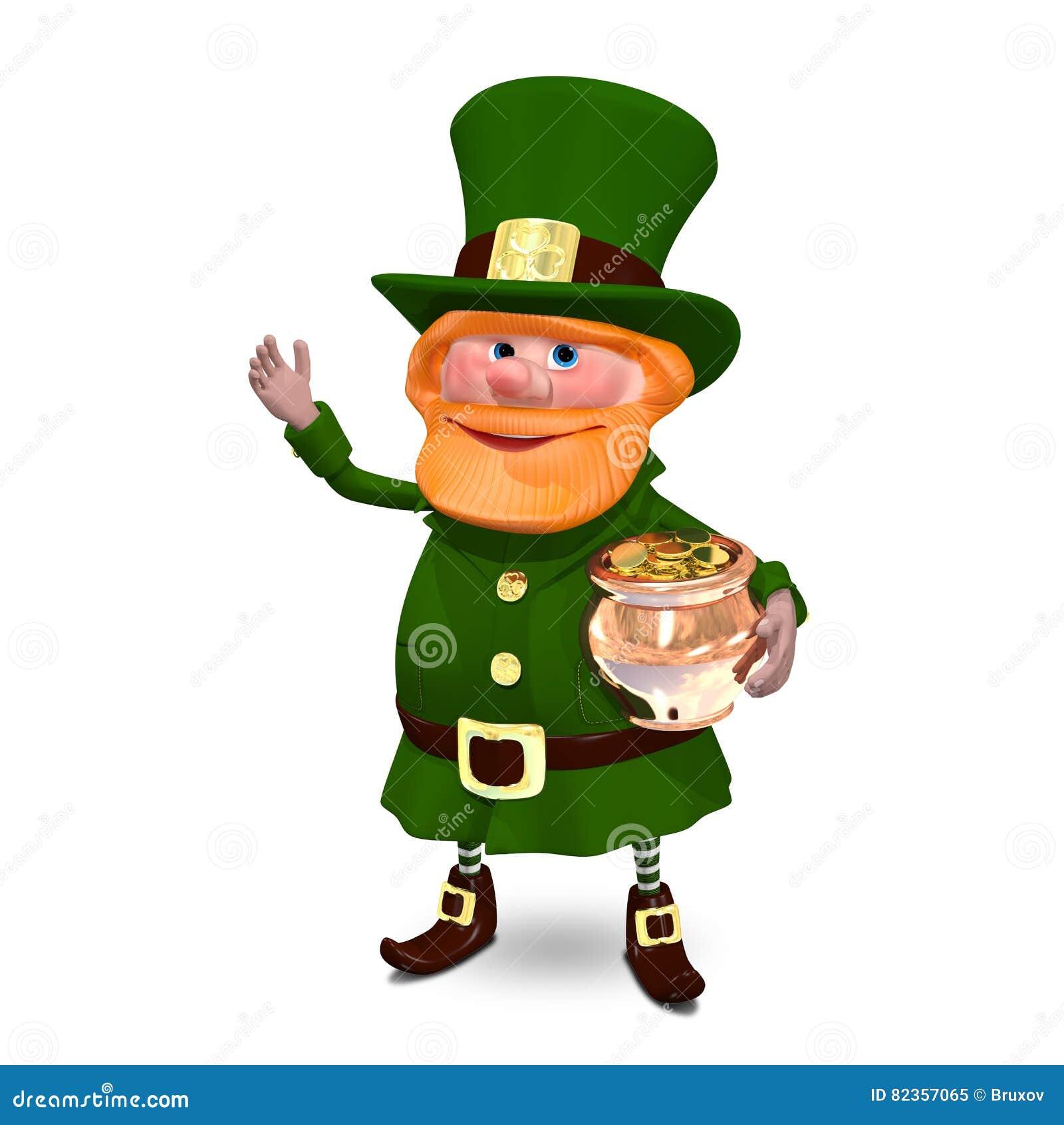 El ejemplo 3D de St Patrick en sombrero guarda el pote