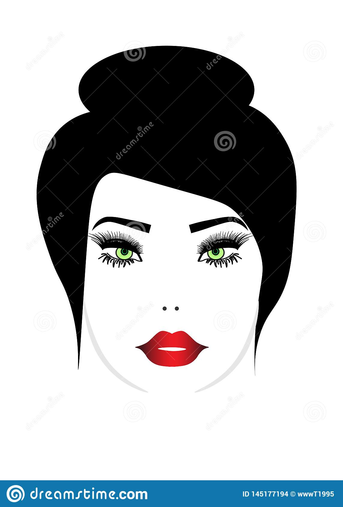 El ejemplo de la web del icono largo del estilo de pelo de las mujeres, mujeres del logotipo hace frente en el fondo blanco,