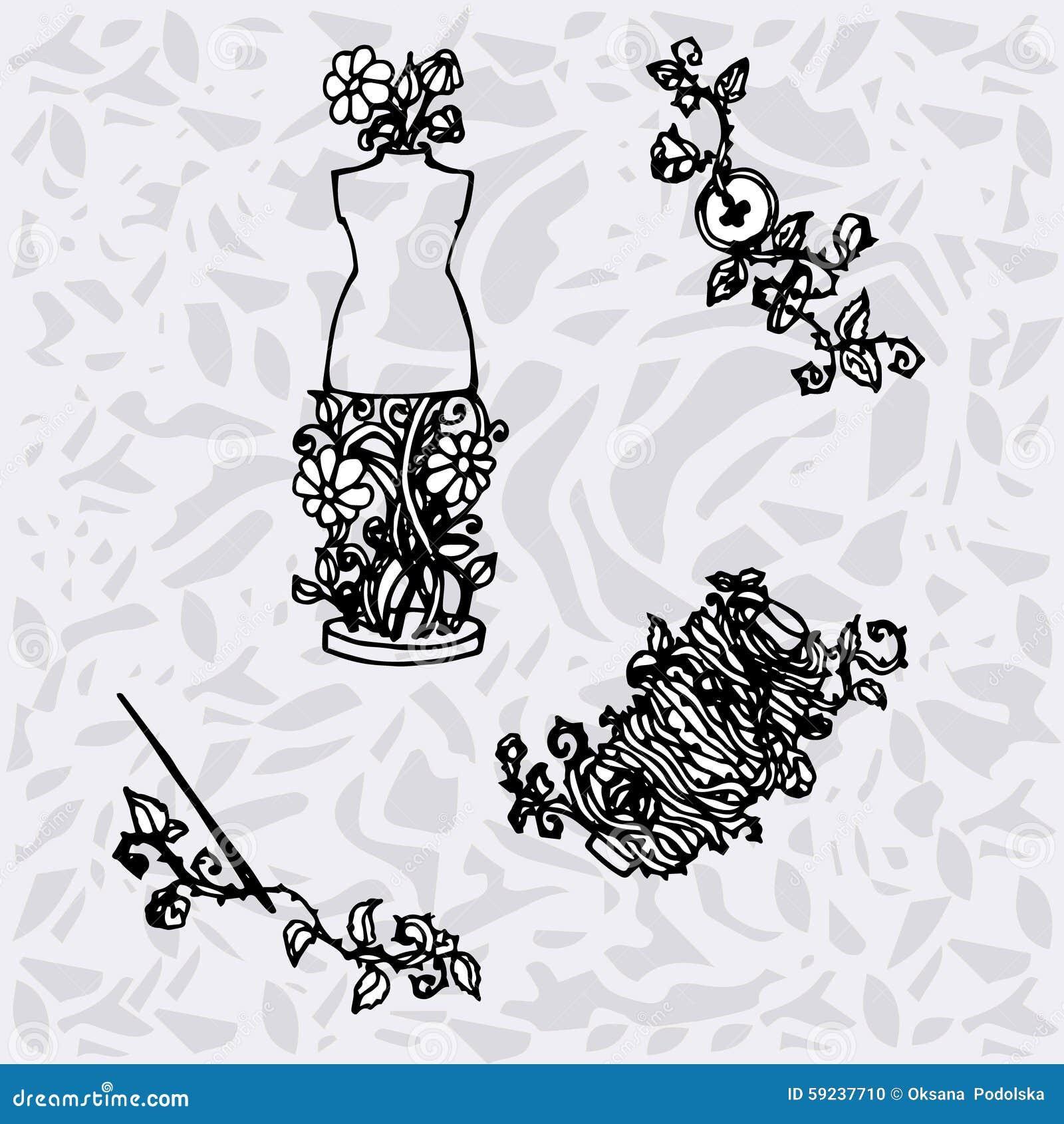 Download El Ejemplo De Los Accesorios De Costura, Herramientas Para La Moda Diseña, Maniquí, Carrete, Agujas, Botones Ilustración del Vector - Ilustración de para, fondo: 59237710