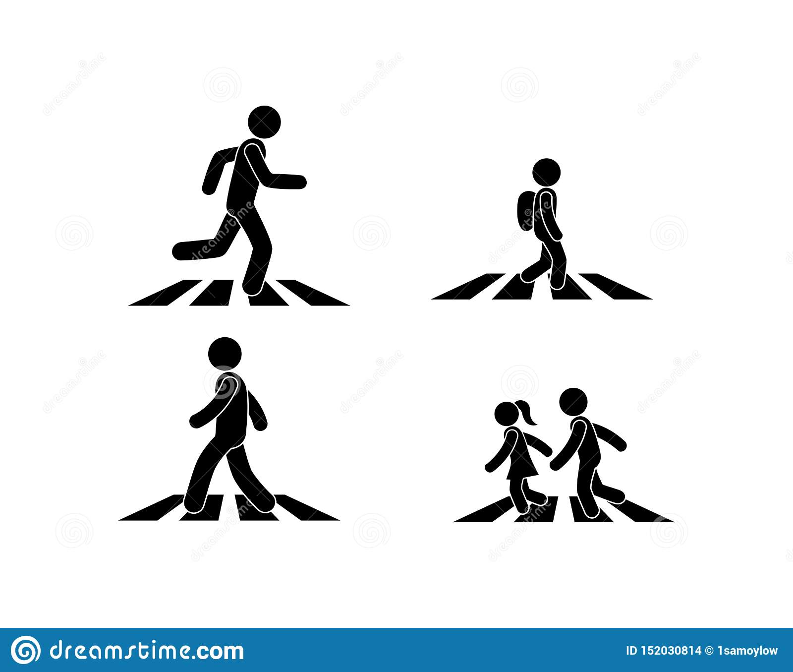 El ejemplo de un paso de peatones, el peatón está en la cebra