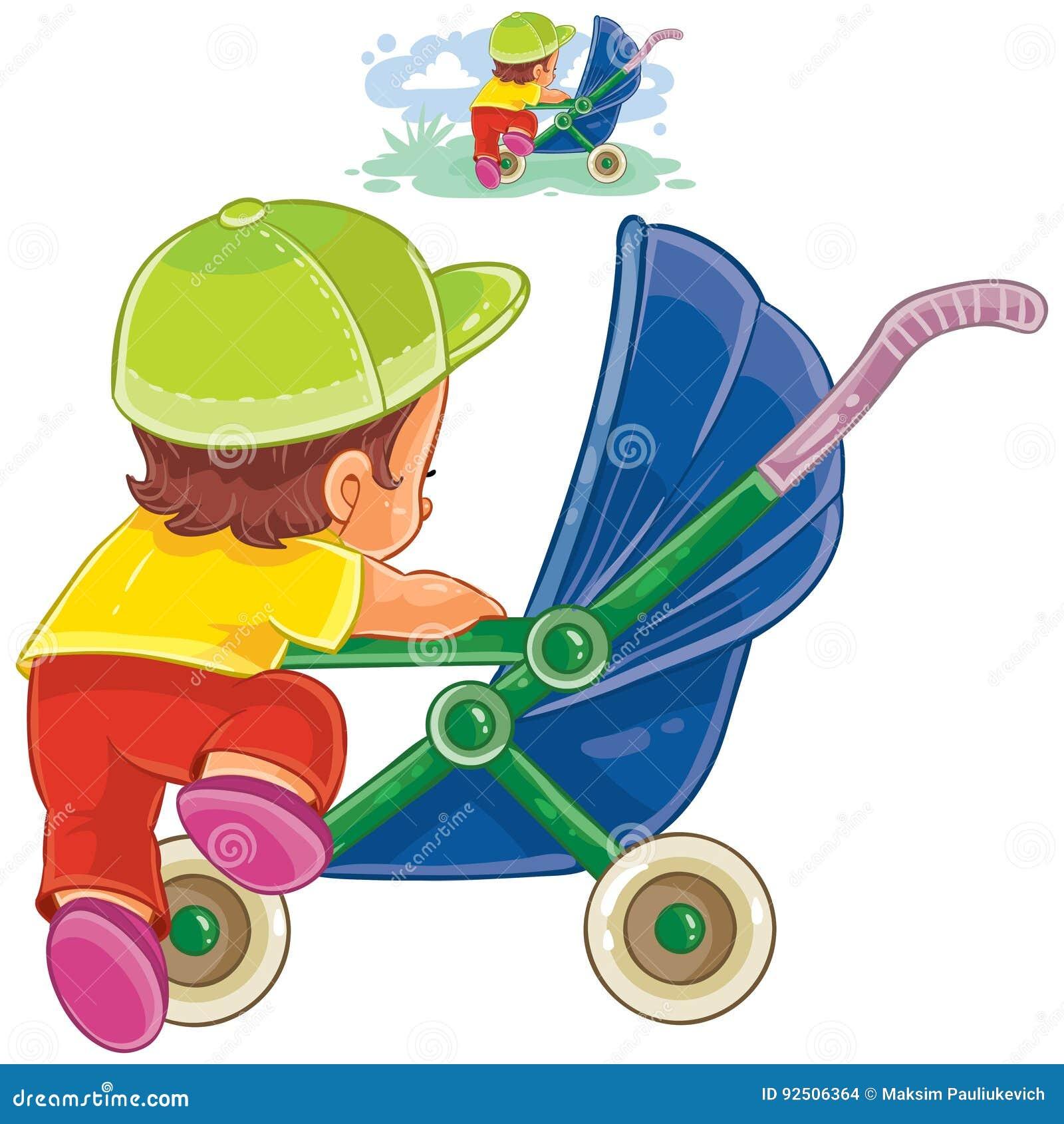 El ejemplo del clip art del vector del pequeño niño sube en un cochecito de  niño 98a0b8bf8e2